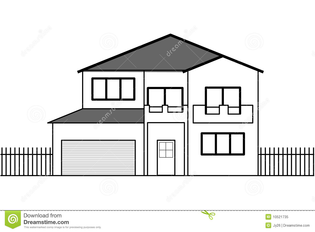 Vector House Drawing Stock Vector Image Of Front Facade 10521735