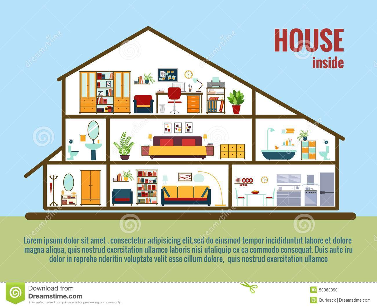 Vector House Interior Stock Vector Image 50363390