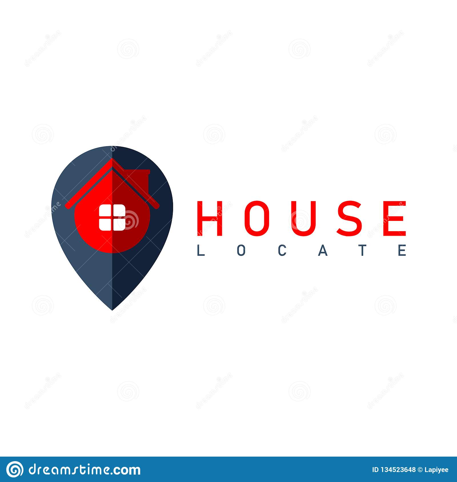 Vector House Locate Pin Logo Design Template Stock Vector