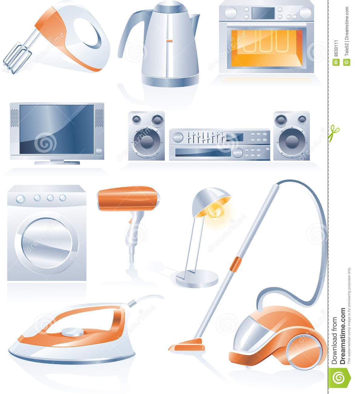 Vector Household Appliances Icons Stock Image - Image: 8630111