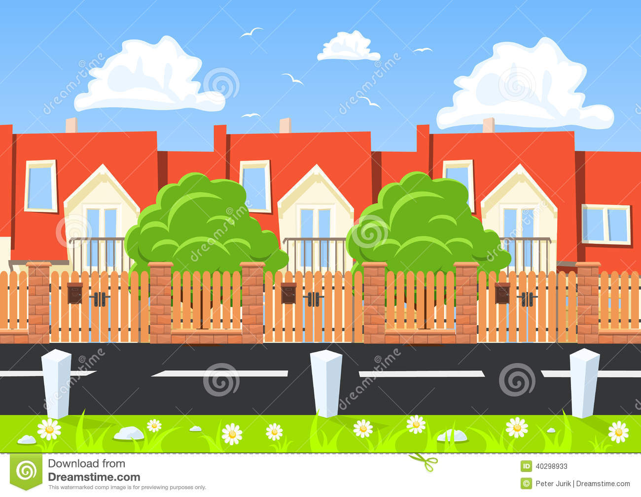 Vector Houses In A Row Beside The Road Stock Vector ...