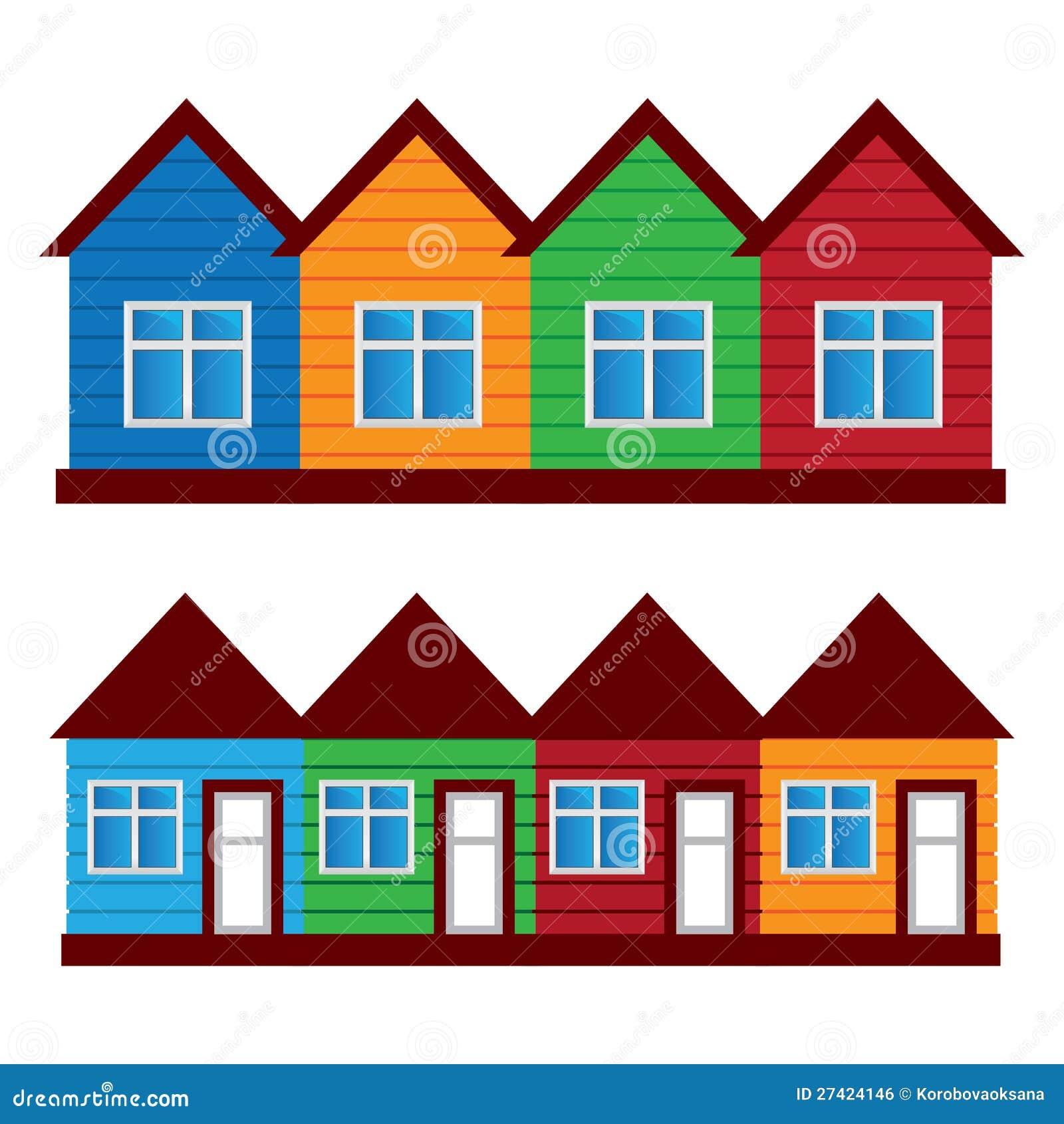 Vector huizen gekleurde geschilderde huizen vector illustratie afbeelding 27424146 - Kleur gevel eigentijds huis ...