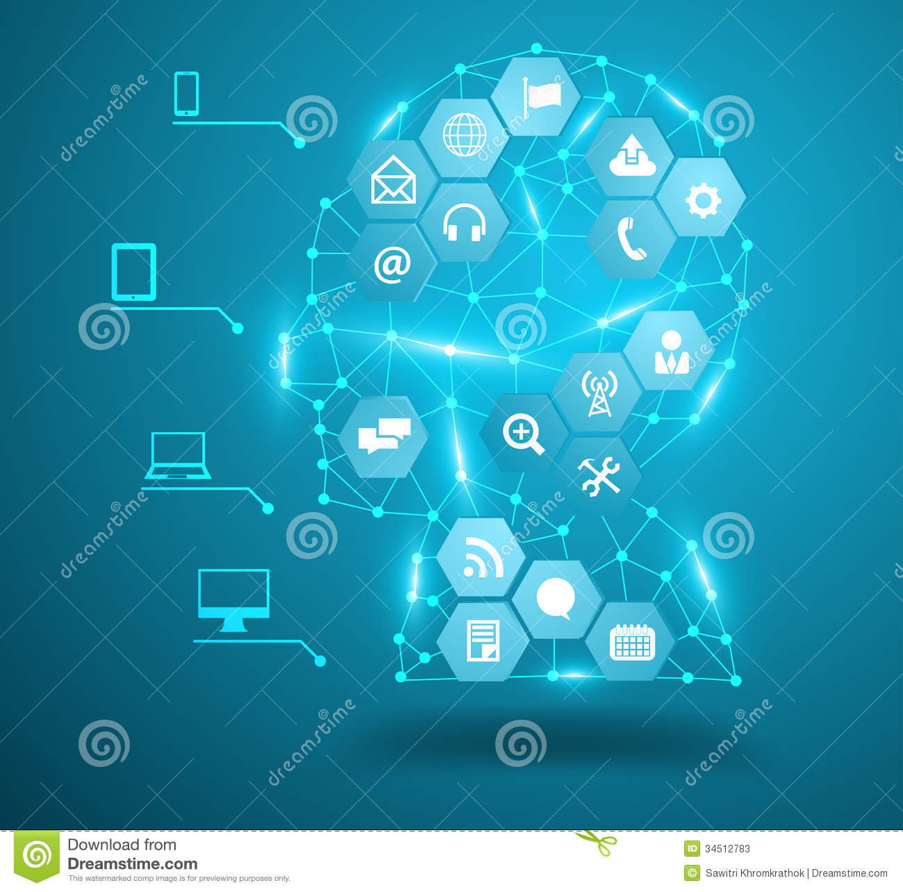 Vector Human Head With Social Network Icons Stock Photos