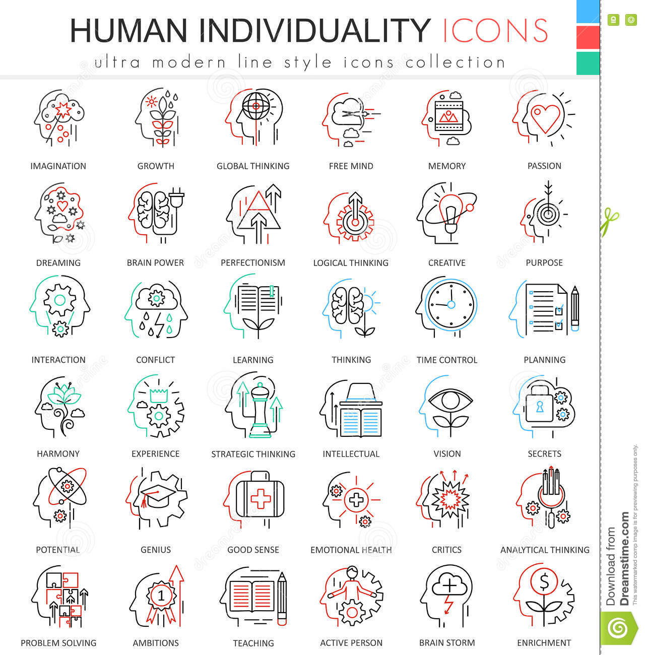 Modern colors web design - Vector Human Personality And Mentality Ultra Modern Color Outline Line Icons For Apps And Web Design
