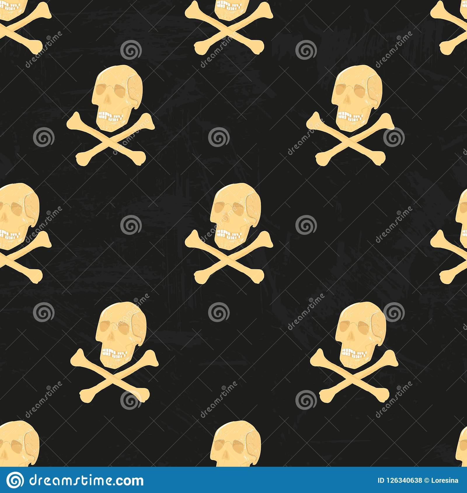 Vector Human Skeleton Seamless Pattern With Skulls And Crossbones
