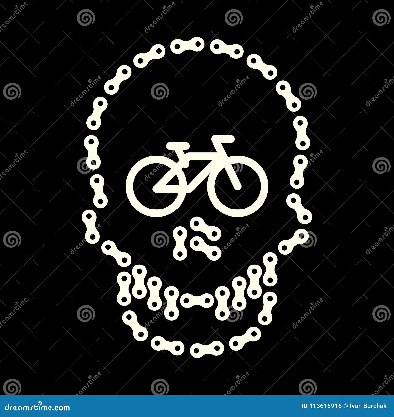 Vector Human Skull Made Of Bike Or Bicycle Chain Skull And Bike