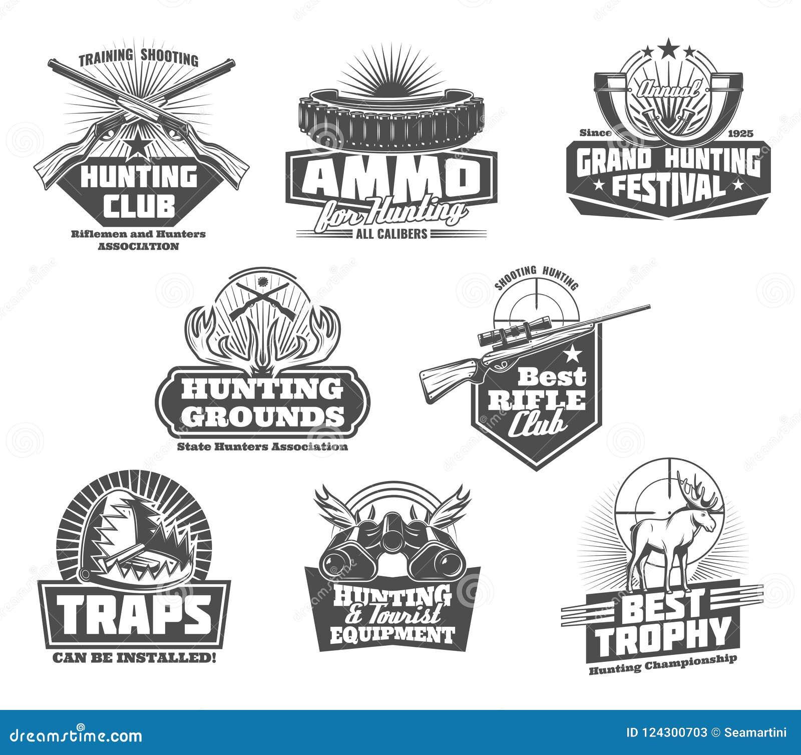 Vector Hunter Shooting Guns And Equipment Stock Vector