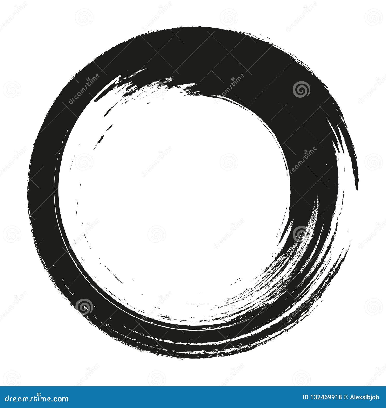 Vector i cerchi dei colpi della spazzola di pittura su fondo bianco Cerchio disegnato a mano del pennello dell inchiostro Logo, e