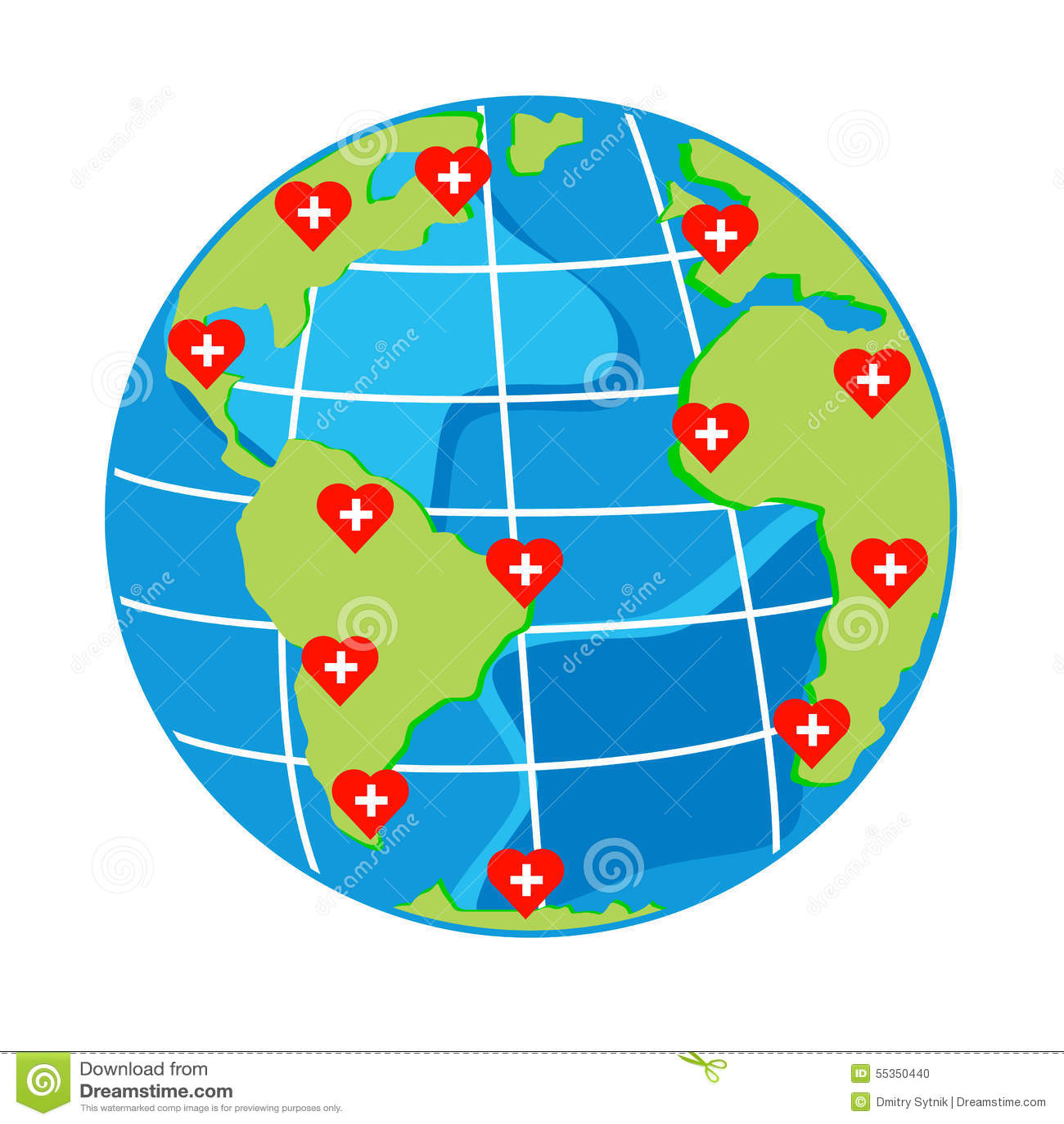 Vector i cuori rossi con l incrocio sul globo della mappa per il giorno di salute
