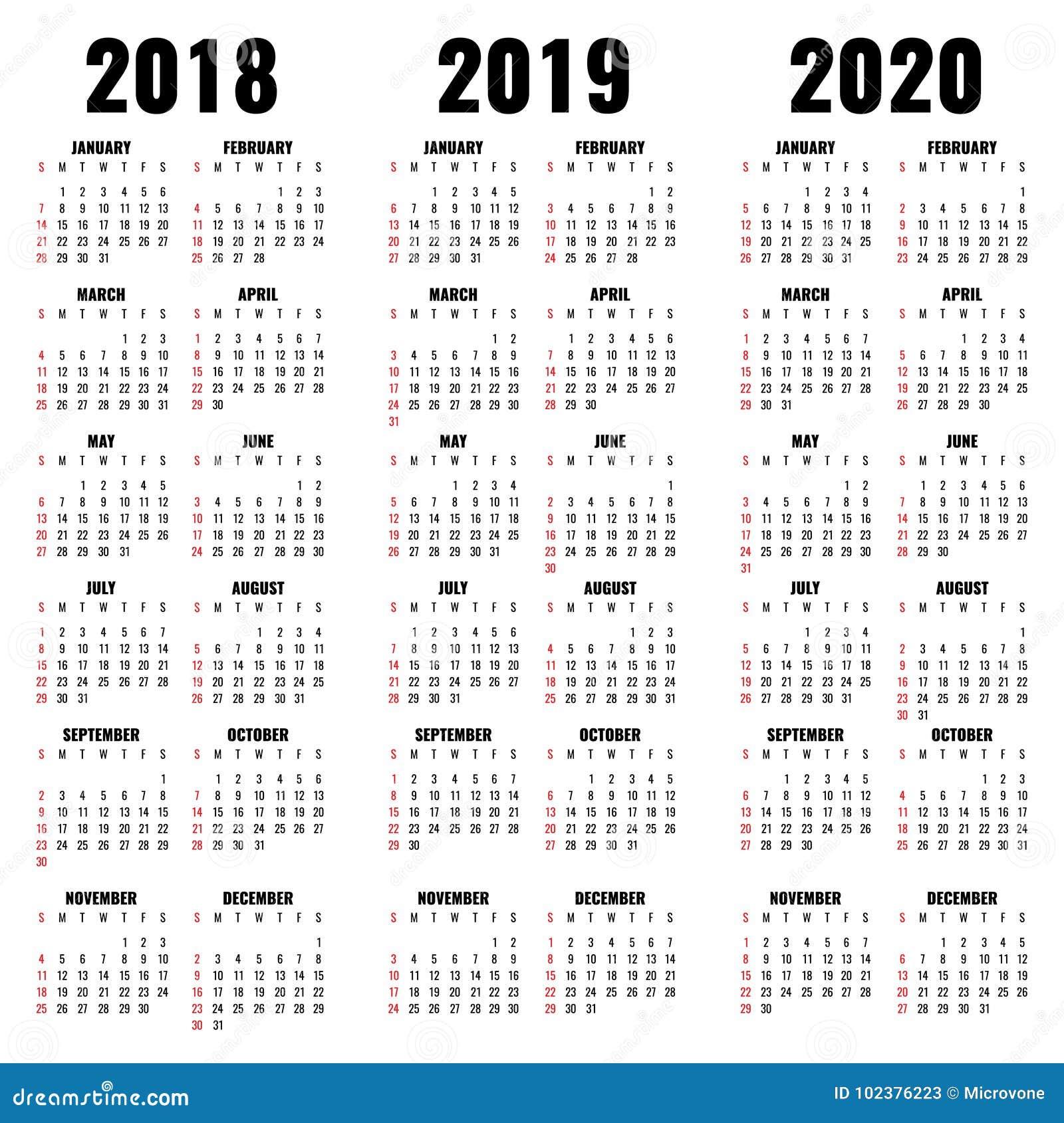 Novembre 2020 Calendario.Vector I Modelli Del Calendario 2018 2019 E 2020 Anni