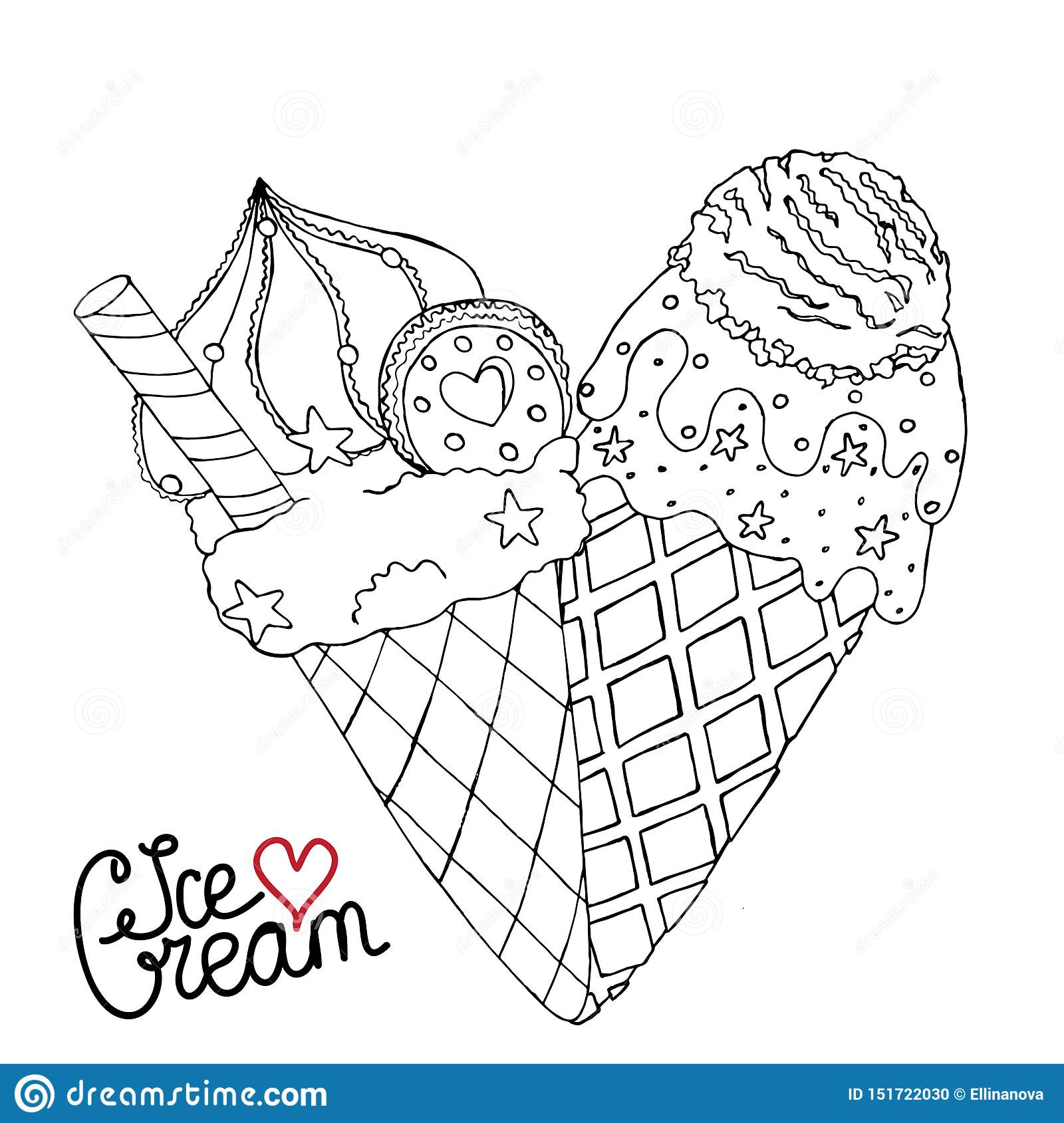 Vector Ice Cream For Coloring Book For Adult And Kids Stock ...