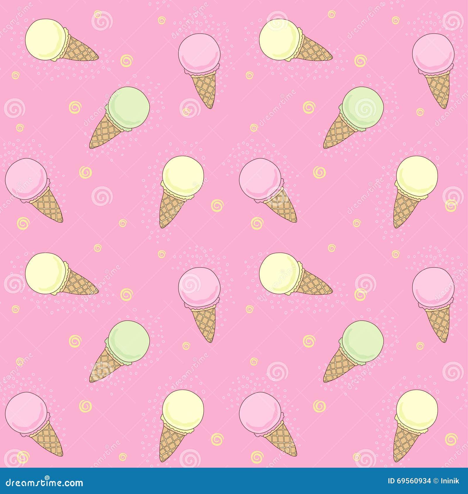 Ice Cream Cones Seamless Pattern Background Stock Vector: Vector Ice-cream Pattern Stock Vector