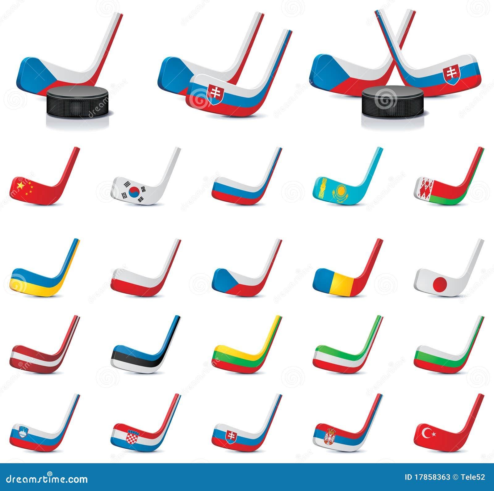 vector ice hockey sticks country flags part 1 stock photos