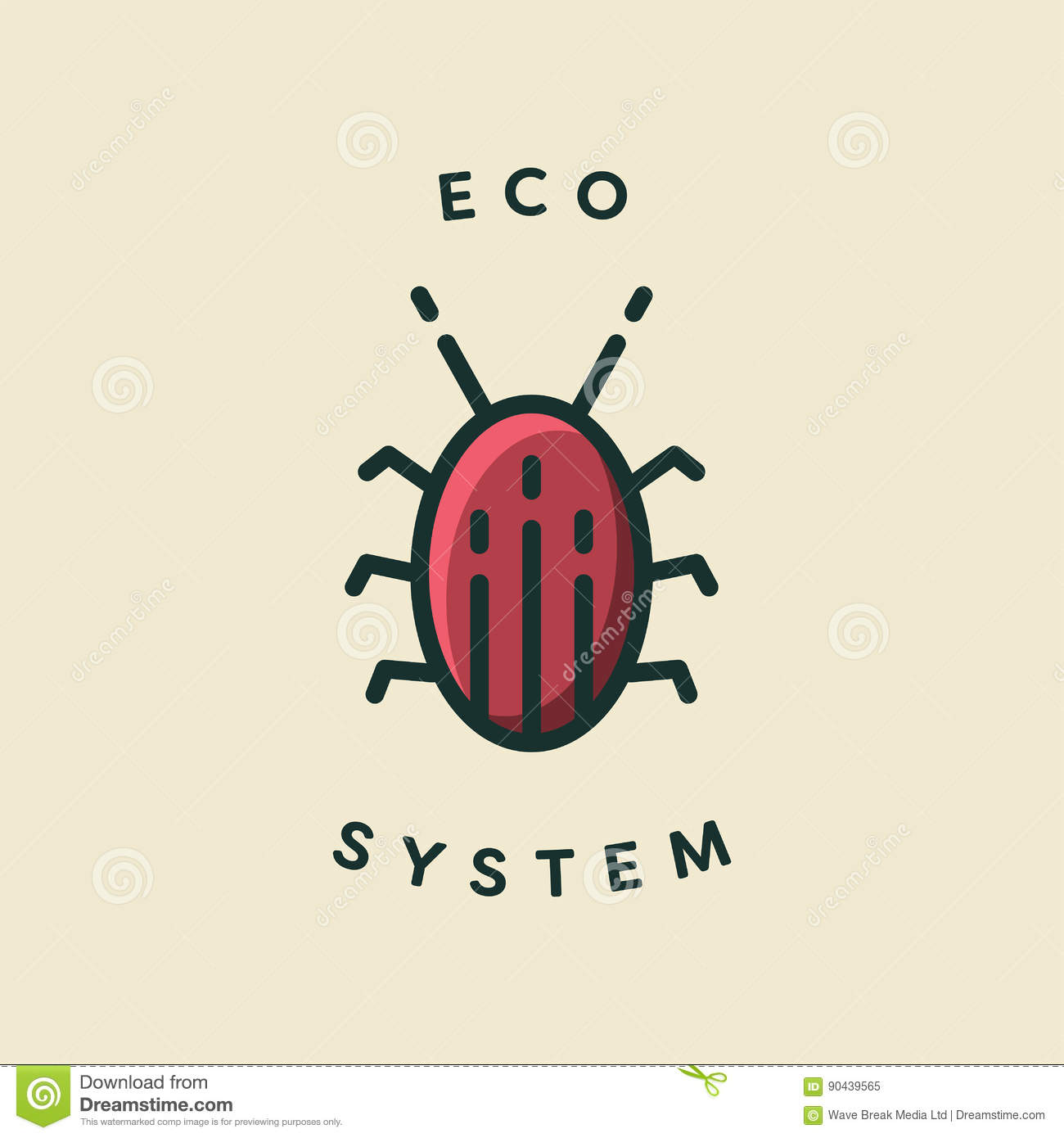Vector Icon Of A Bug With Text Eco System Stock Vector