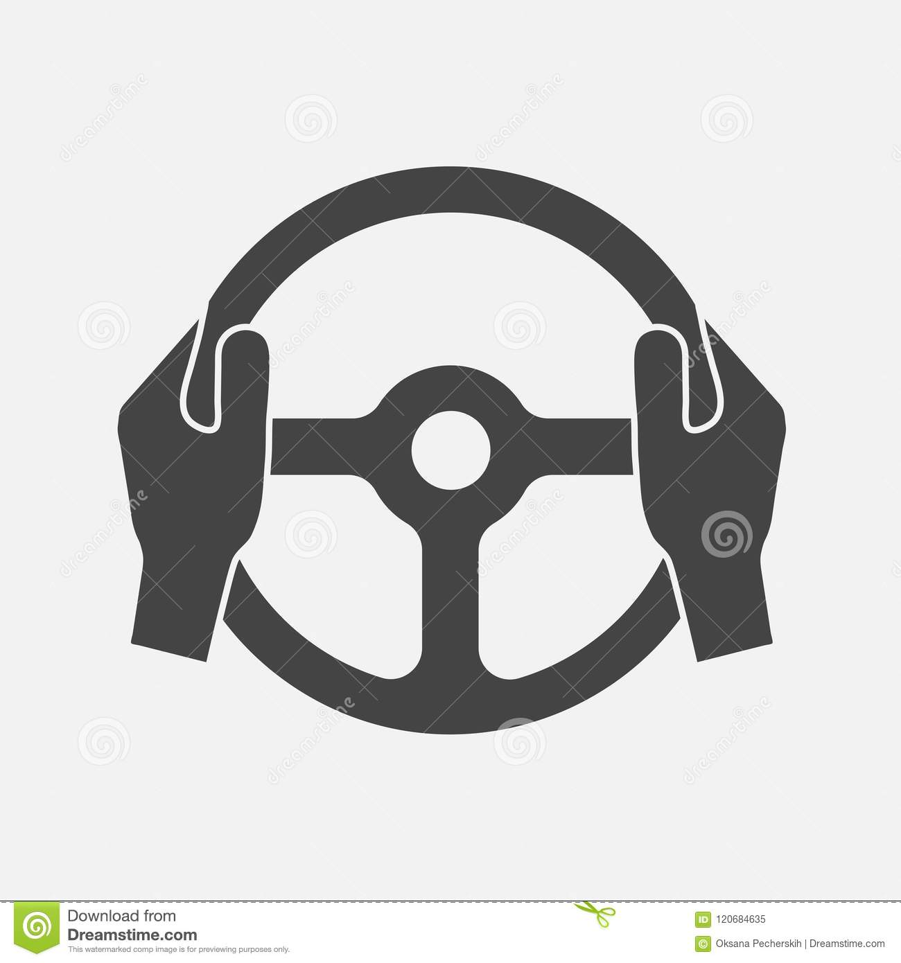 Vector Icon Of Car Steering Wheel And Driver S Hands Layers