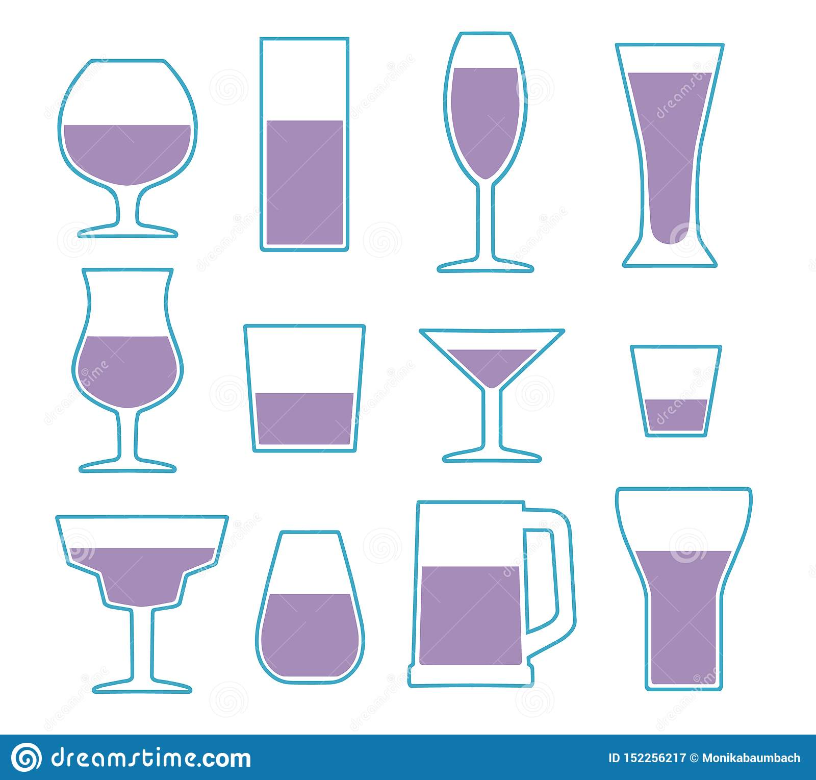 Vector icon collection set with different simple drinking glass types