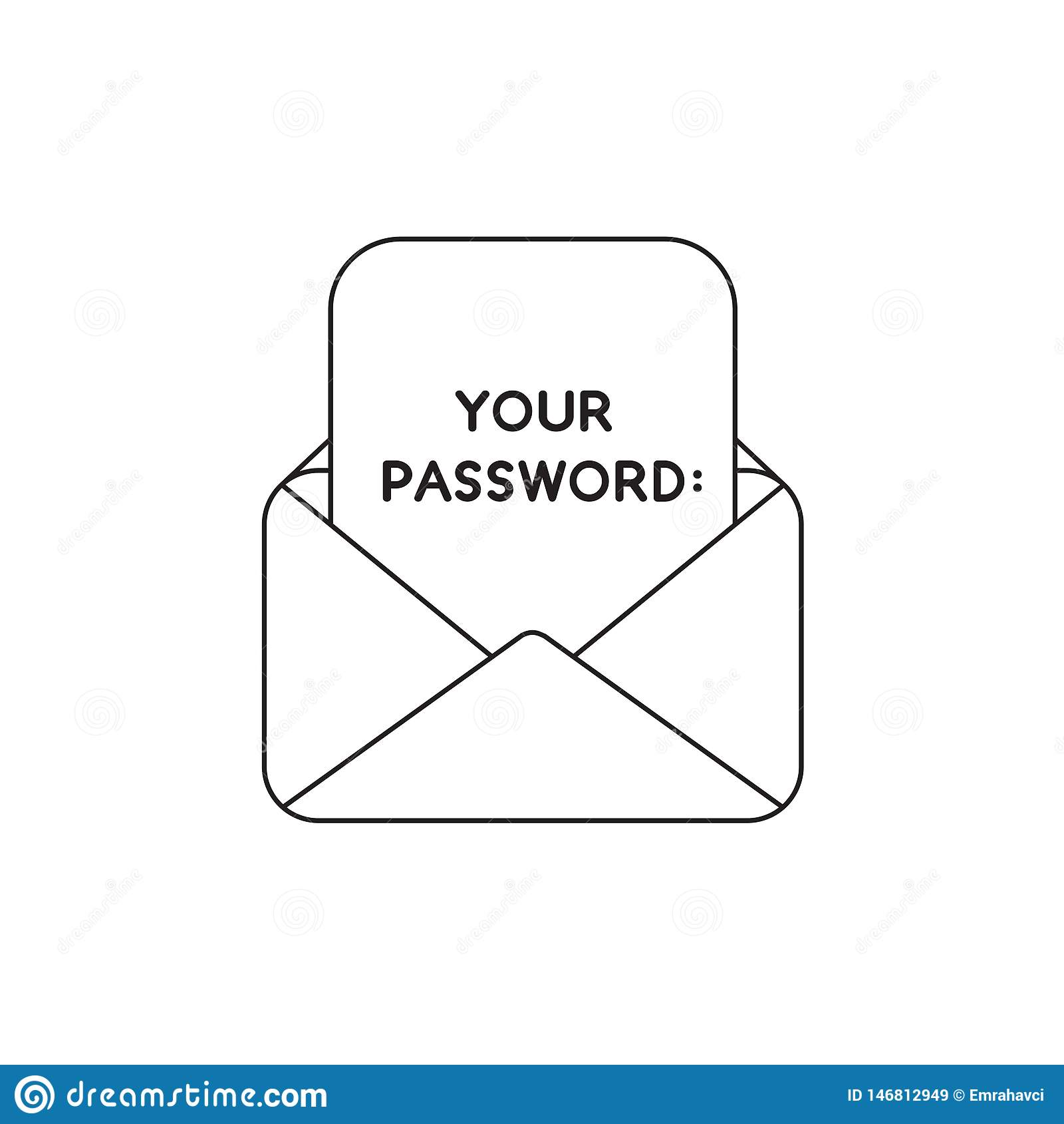 Vector Icon Concept Of Open Envelope With Your Password