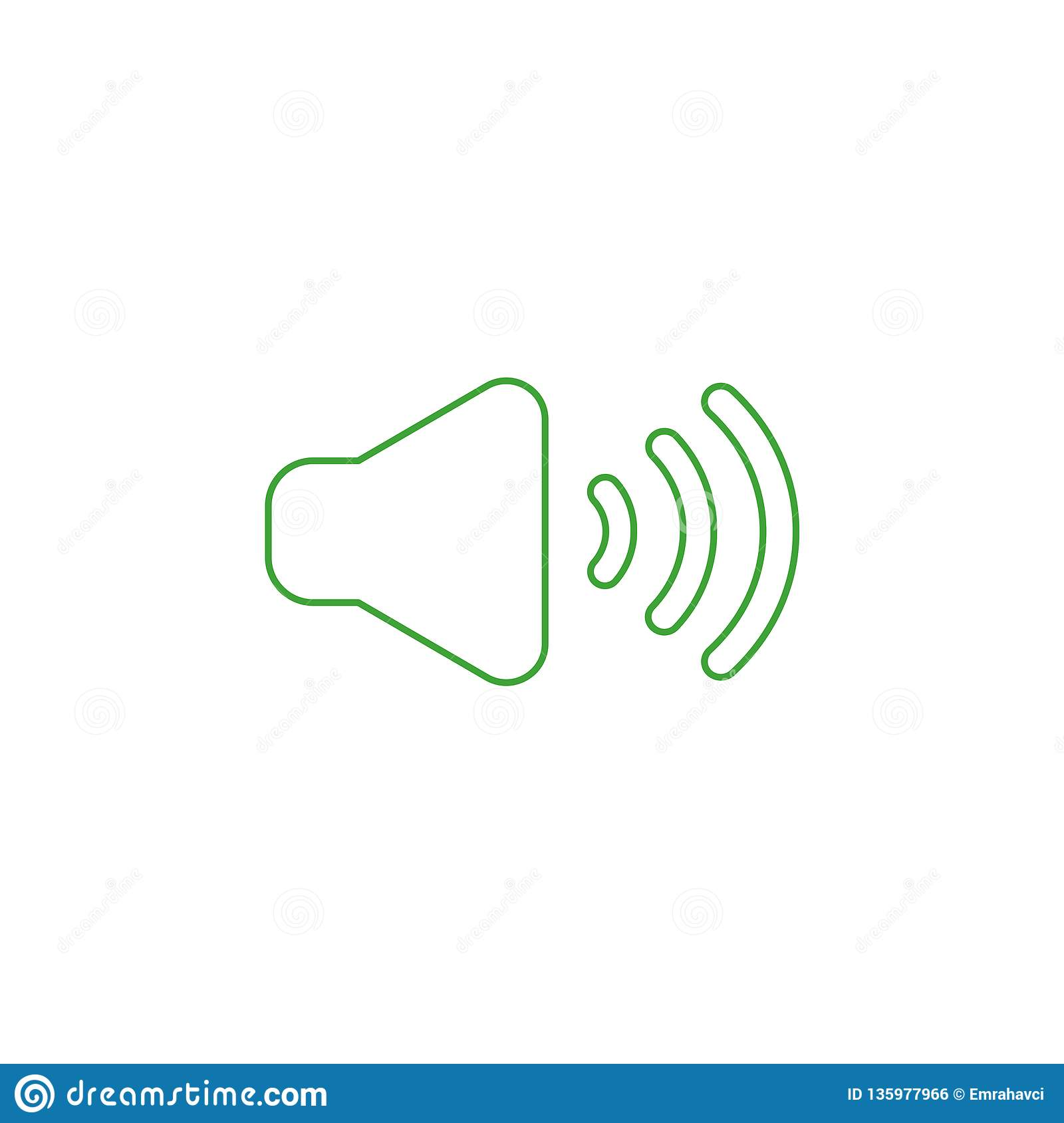 Vector icon concept of sound on. Color outlines