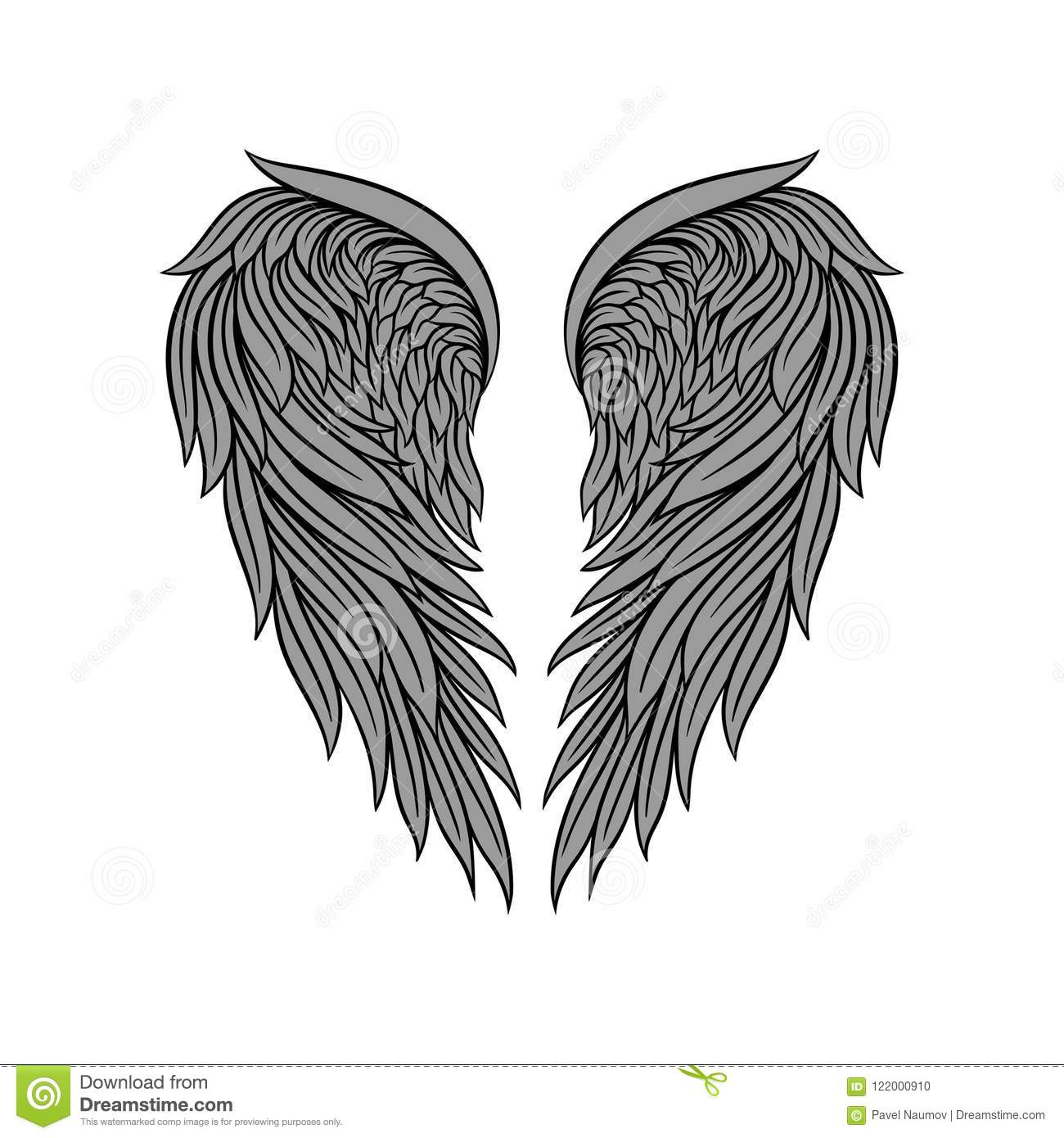 Vector Icon Of Gorgeous Heraldic Angel Wings With Gray