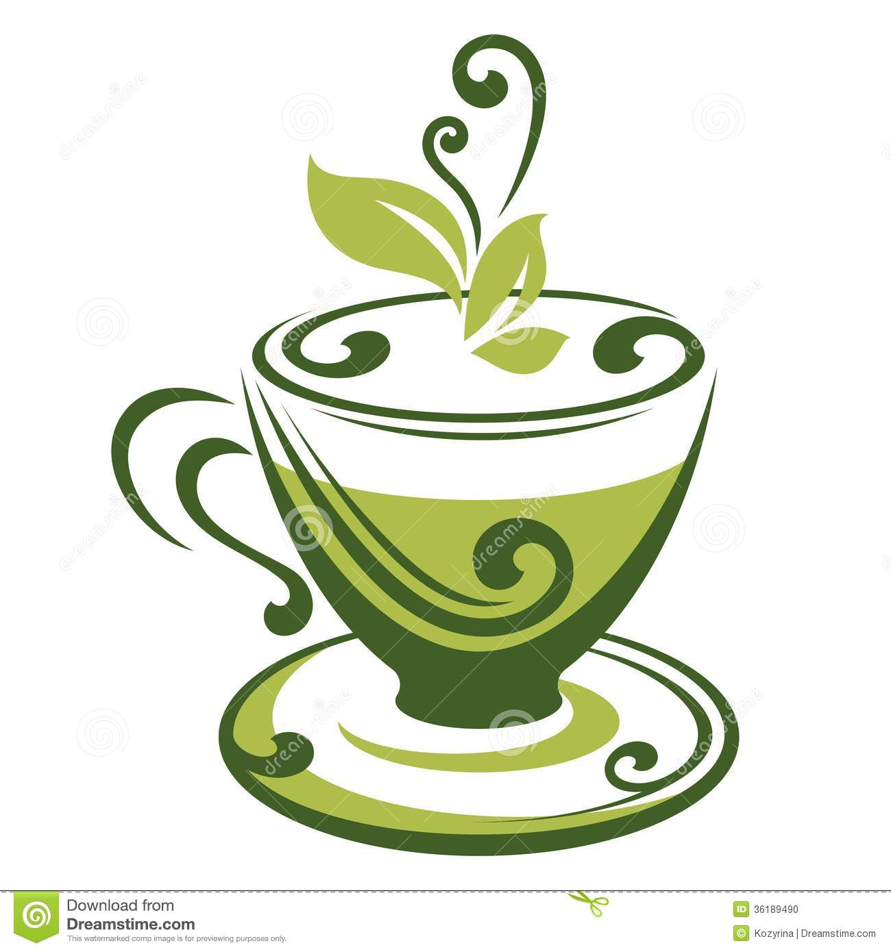 Vector icon of green tea cup. This is file of EPS10 format.