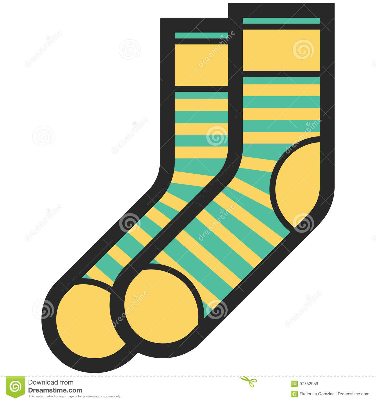 Vector Icon Of A Green And Yellow Socks With Stripes For Men