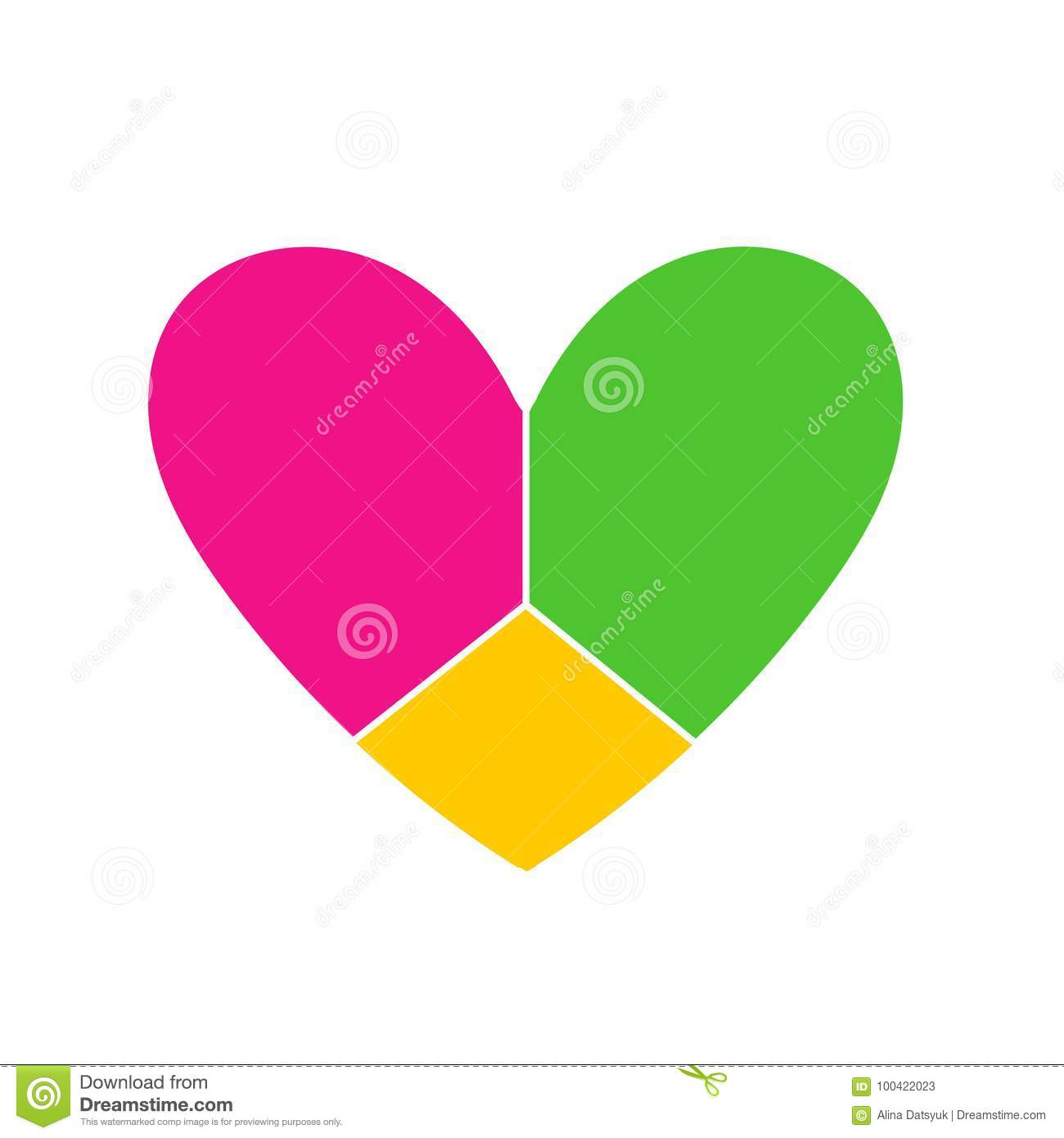 Vector Icon Heart. Image Of The Heart Is Divided Into Three ...