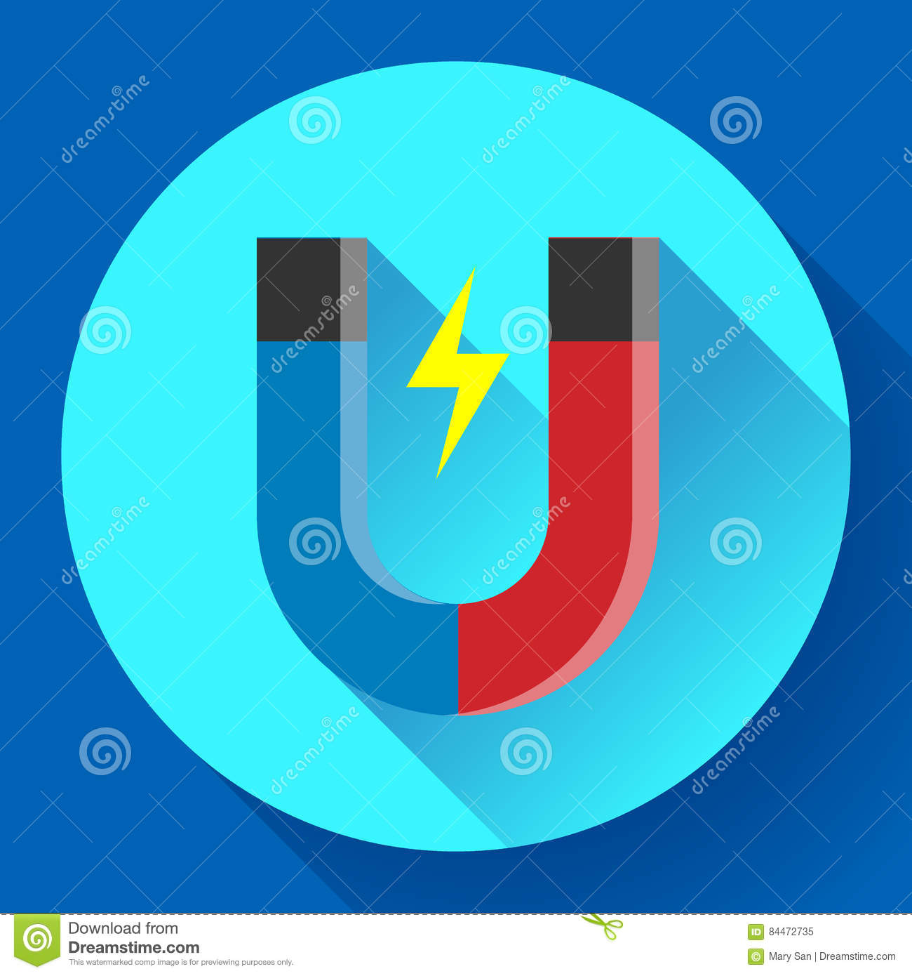 Icon Horseshoe Magnet, Magnetism Attraction. Flat Design ...