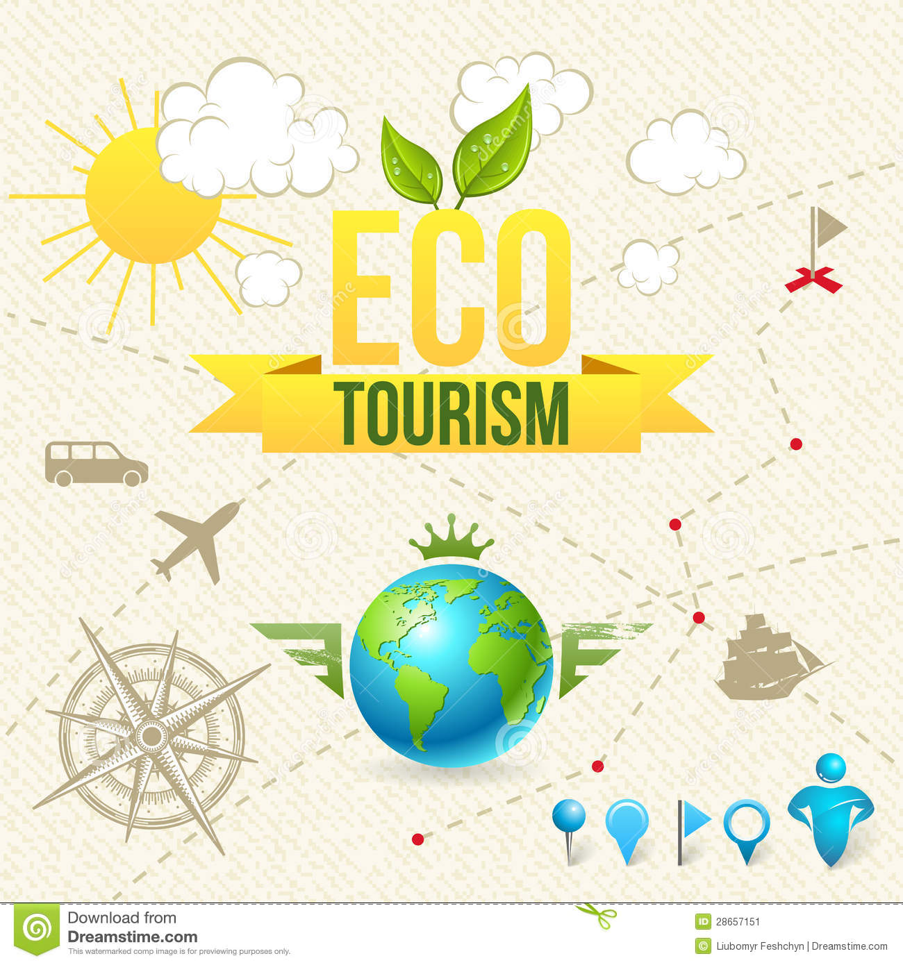 Vector Icon and Label of Eco Tourism and Travel