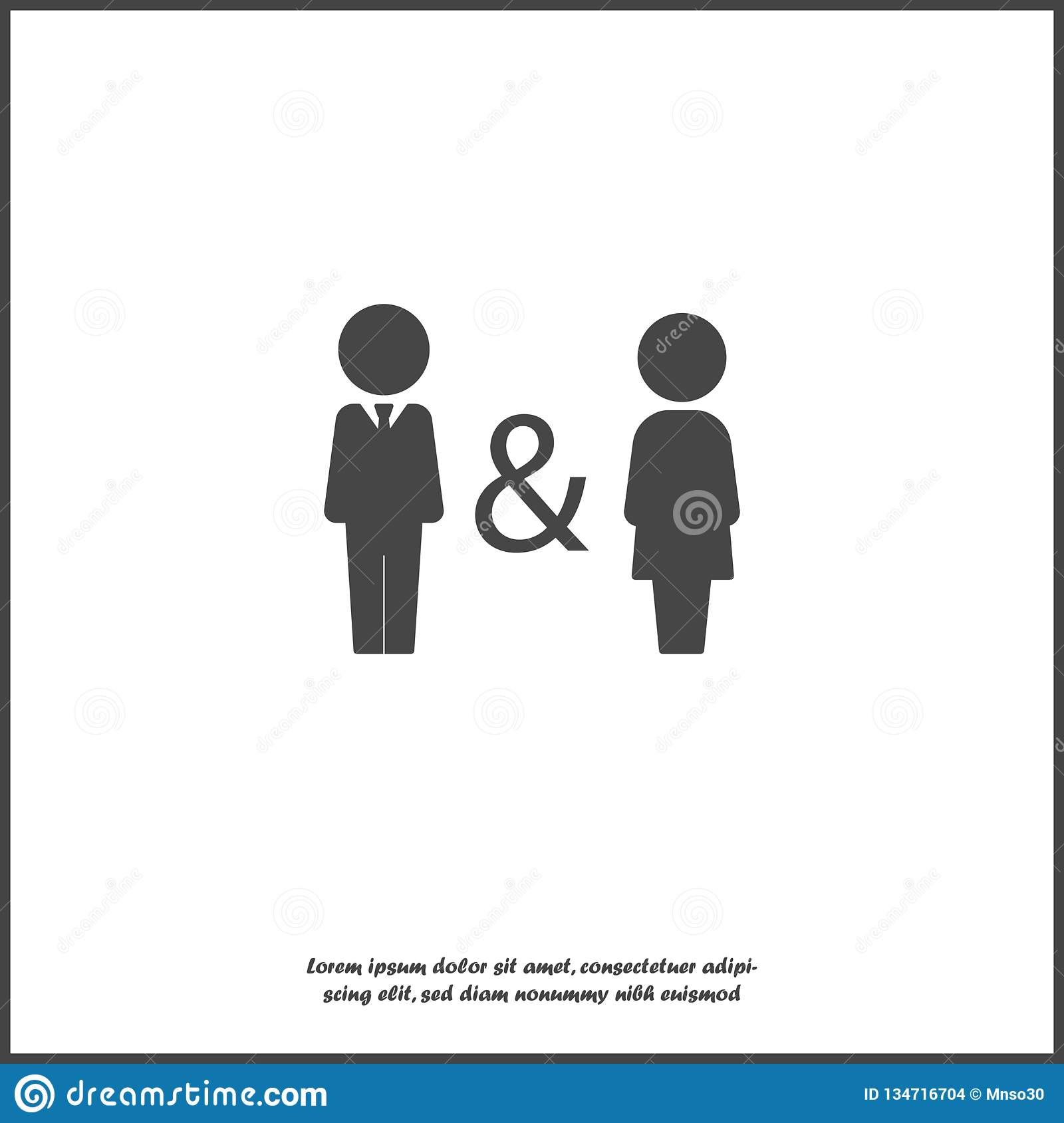 Vector icon of man and woman. Family symbol of proximity, support, compatibility. Joint life, life and work of men and women.