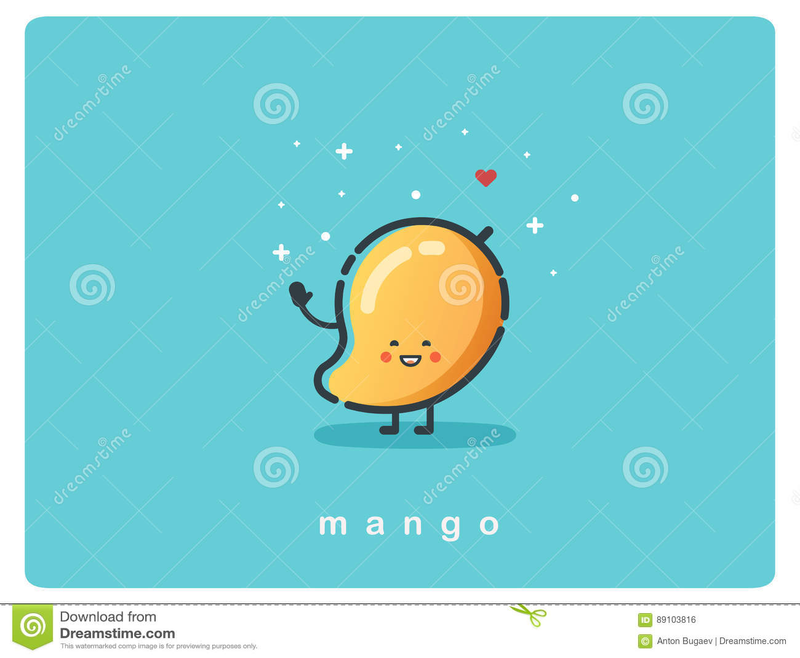 Vector Icon Of Mango Fruit Funny Cartoon Character Stock
