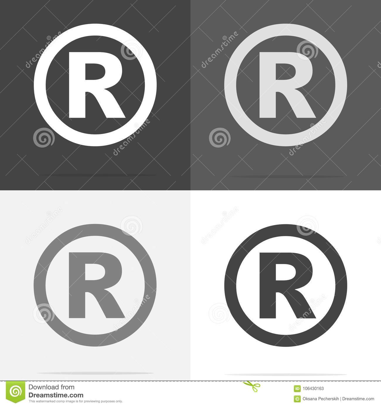 Vector Icon Registered Sign Set Of Registered Sign Icon On Whi