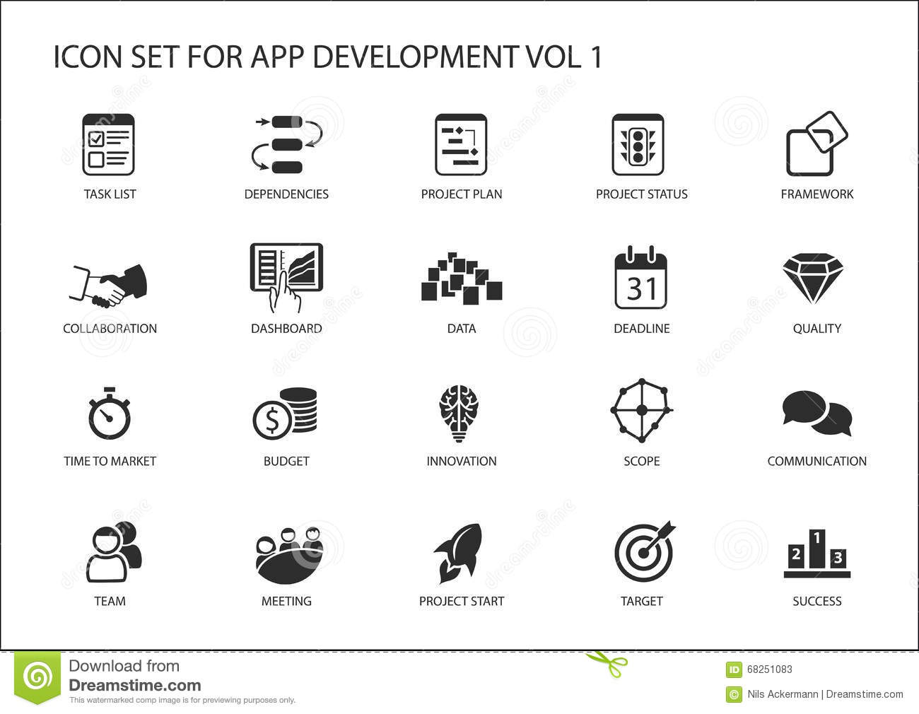 Vector Icon Set For App Application Development Reusable Icons