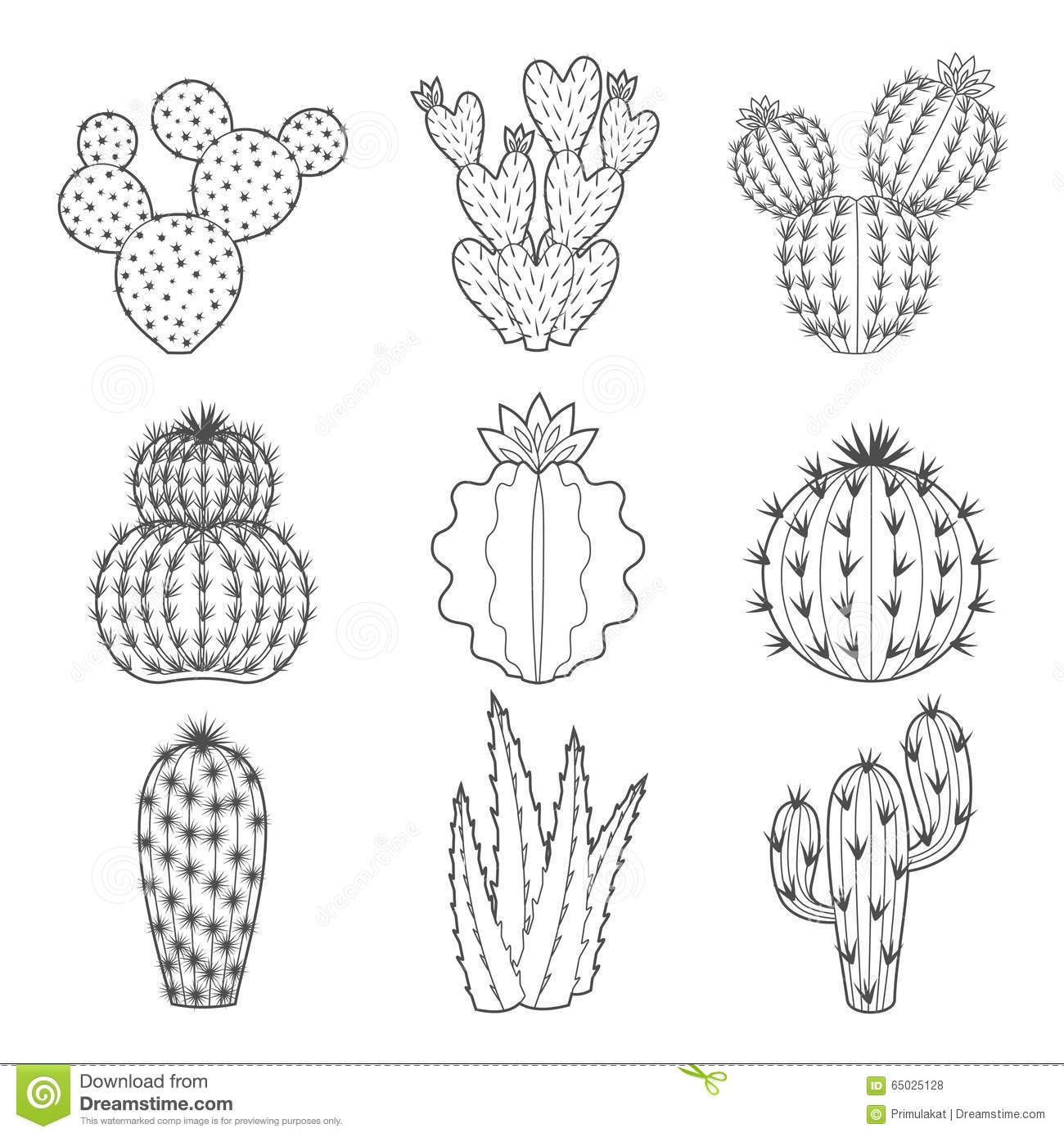 Vector Icon Set Of Contour Cactus And Succulent Stock