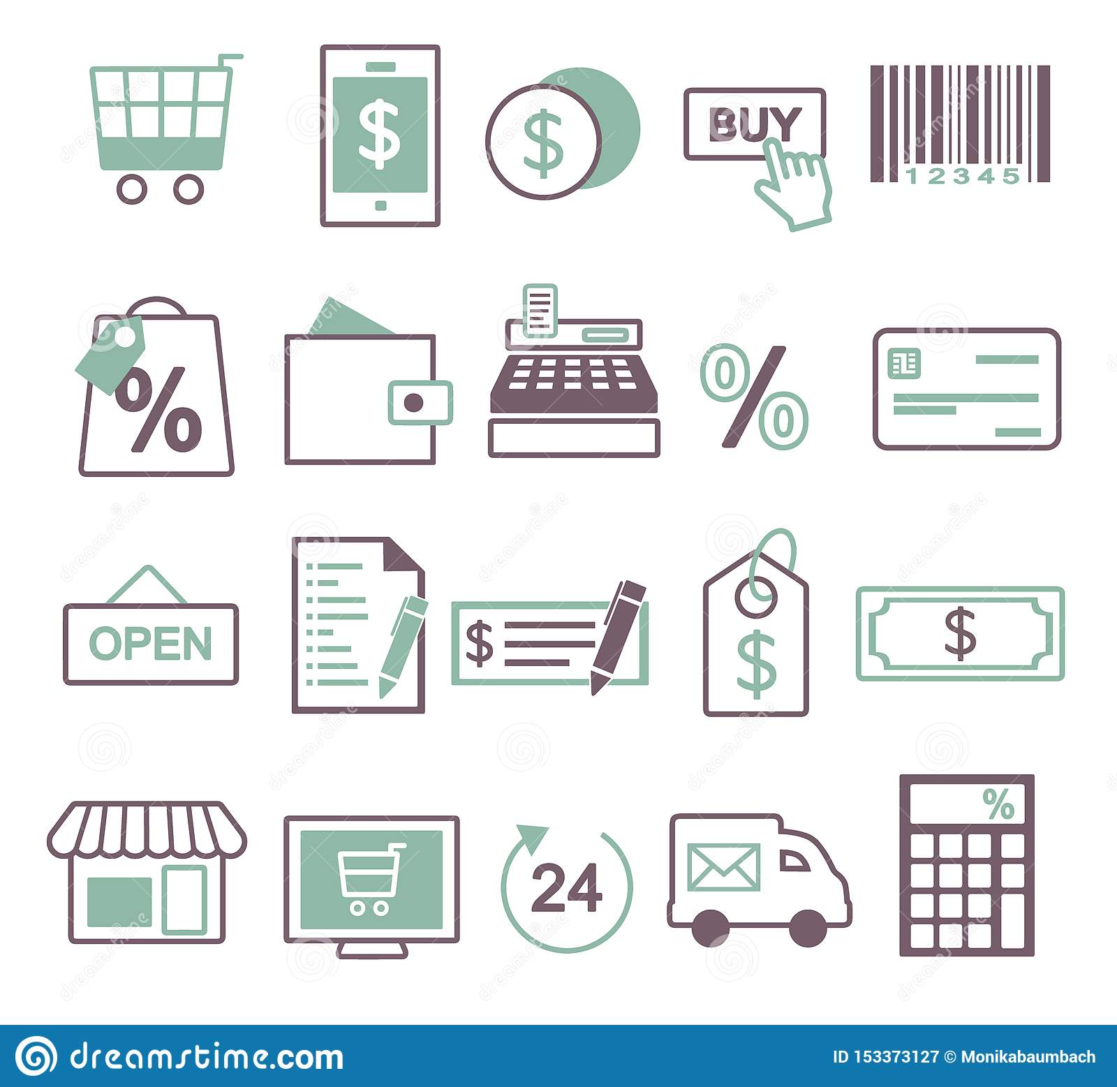 Vector icon set for creating inforaphics related to online shopping, sale and commerce, including shopping cart, mobile phone, buy