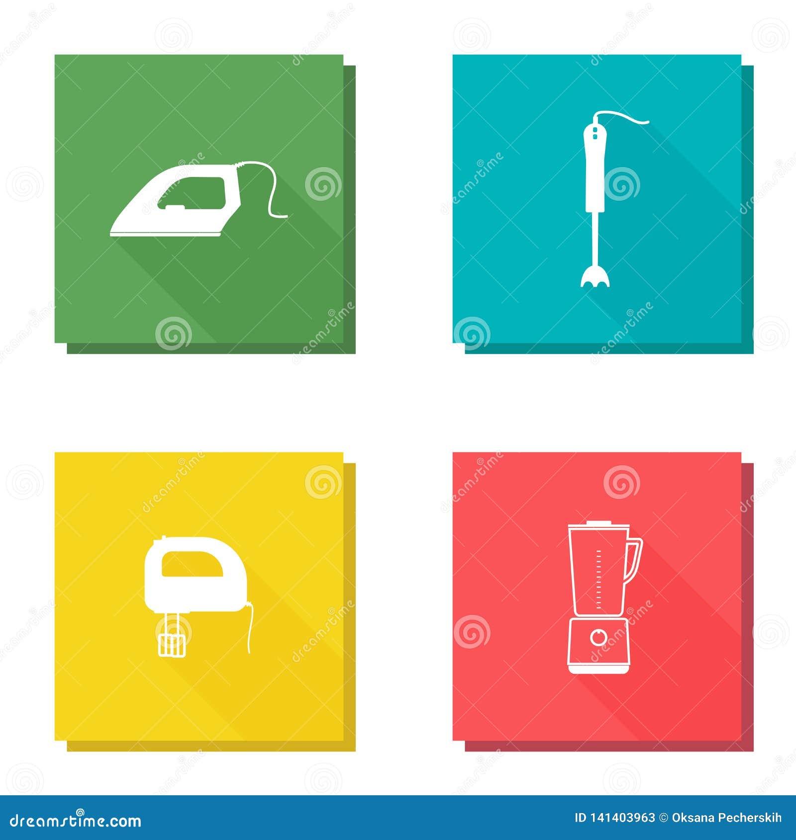 Vector Icon Set With Long Shadow Home Appliances Iron, Mixer