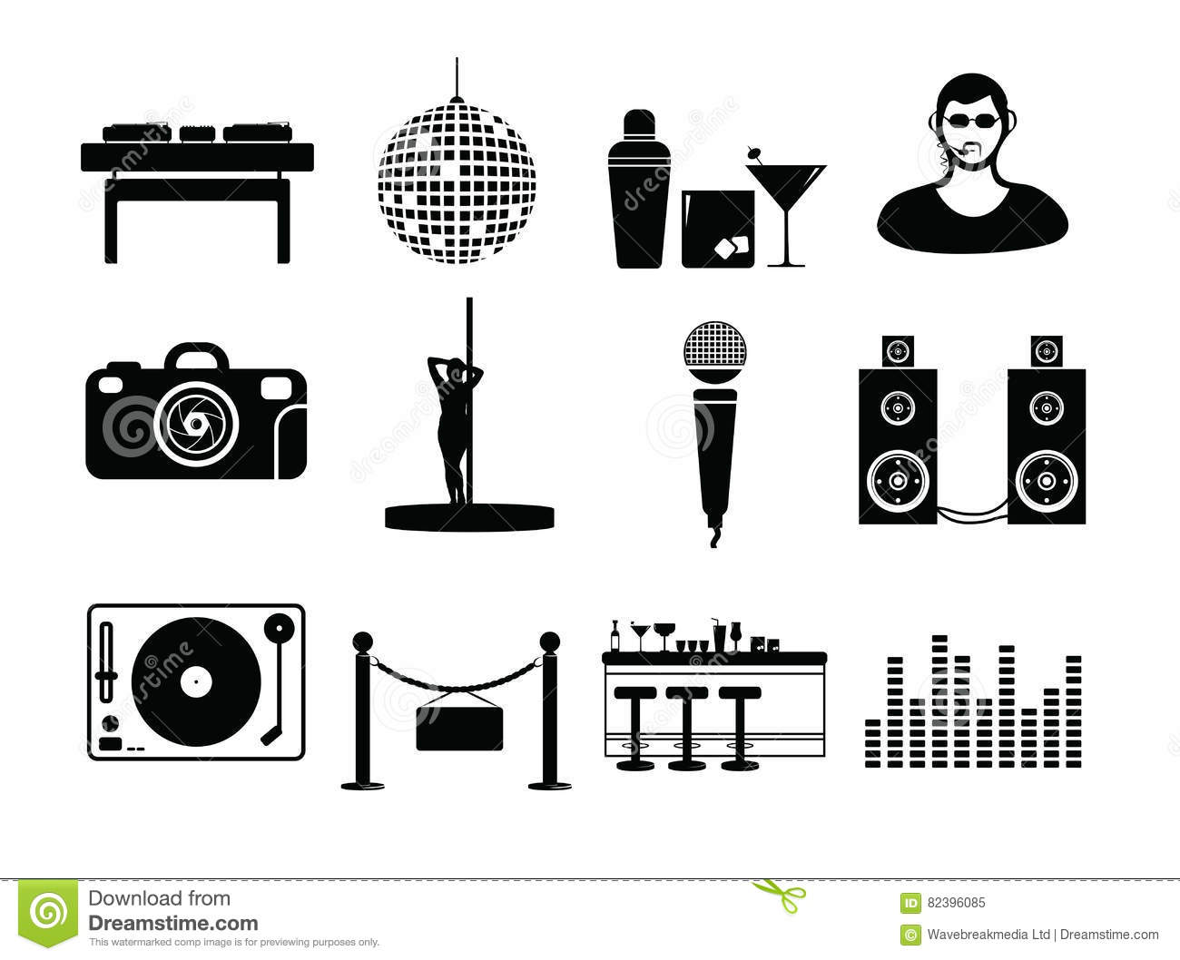 Vector icon set for night club