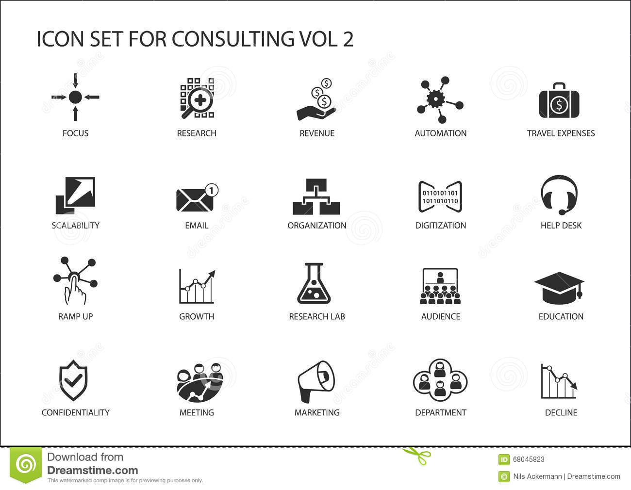 Vector Icon Set For Topic Consulting Various Symbols For