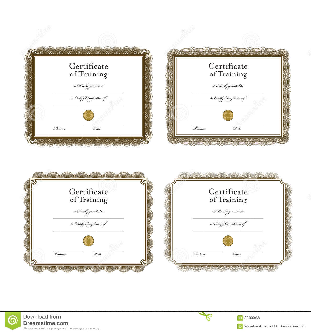 Vector Icon Set Of Training Certificate Templates Stock Vector