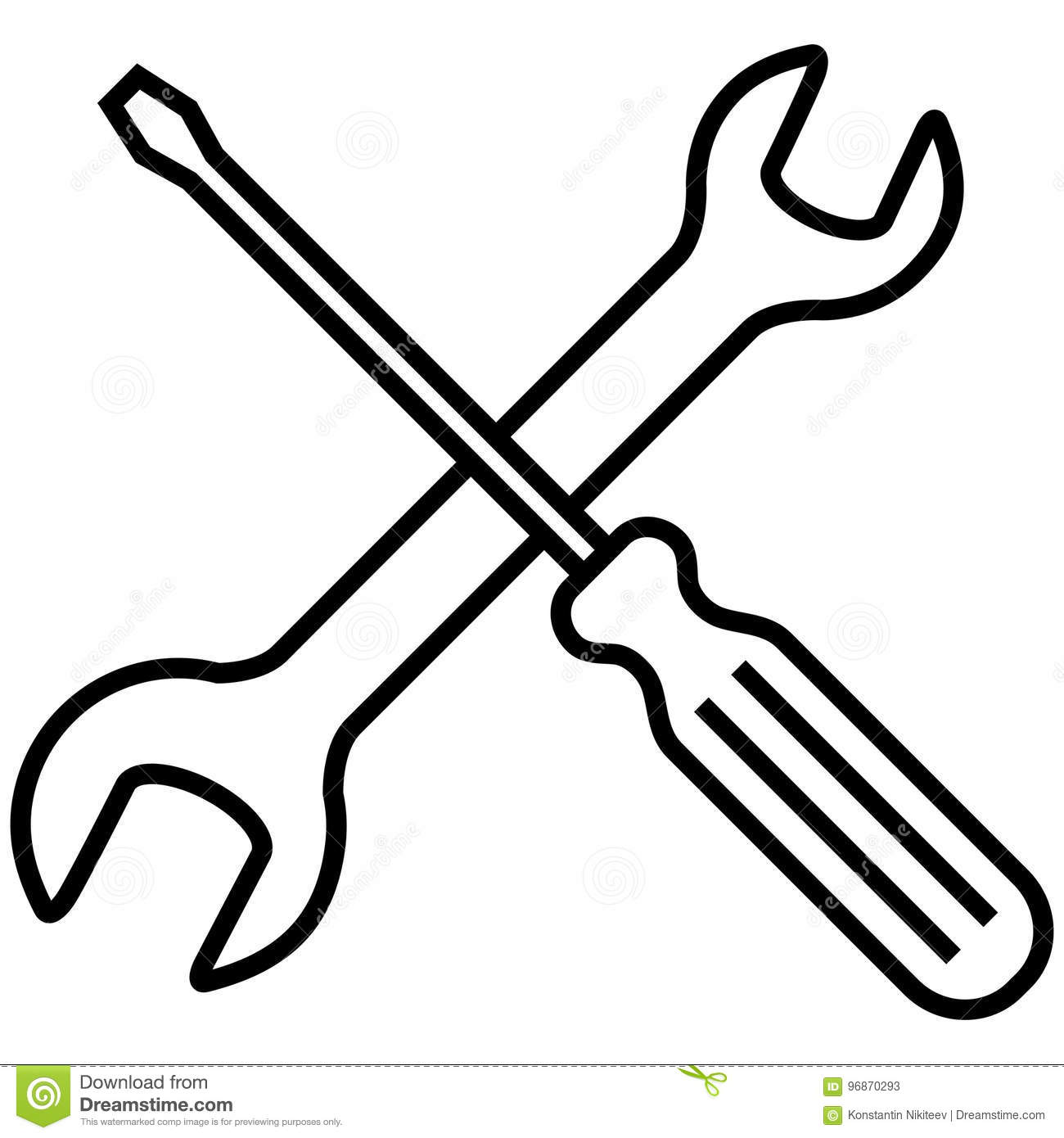 Vector Icon Setting And Options Symbol Crossed Wrench And