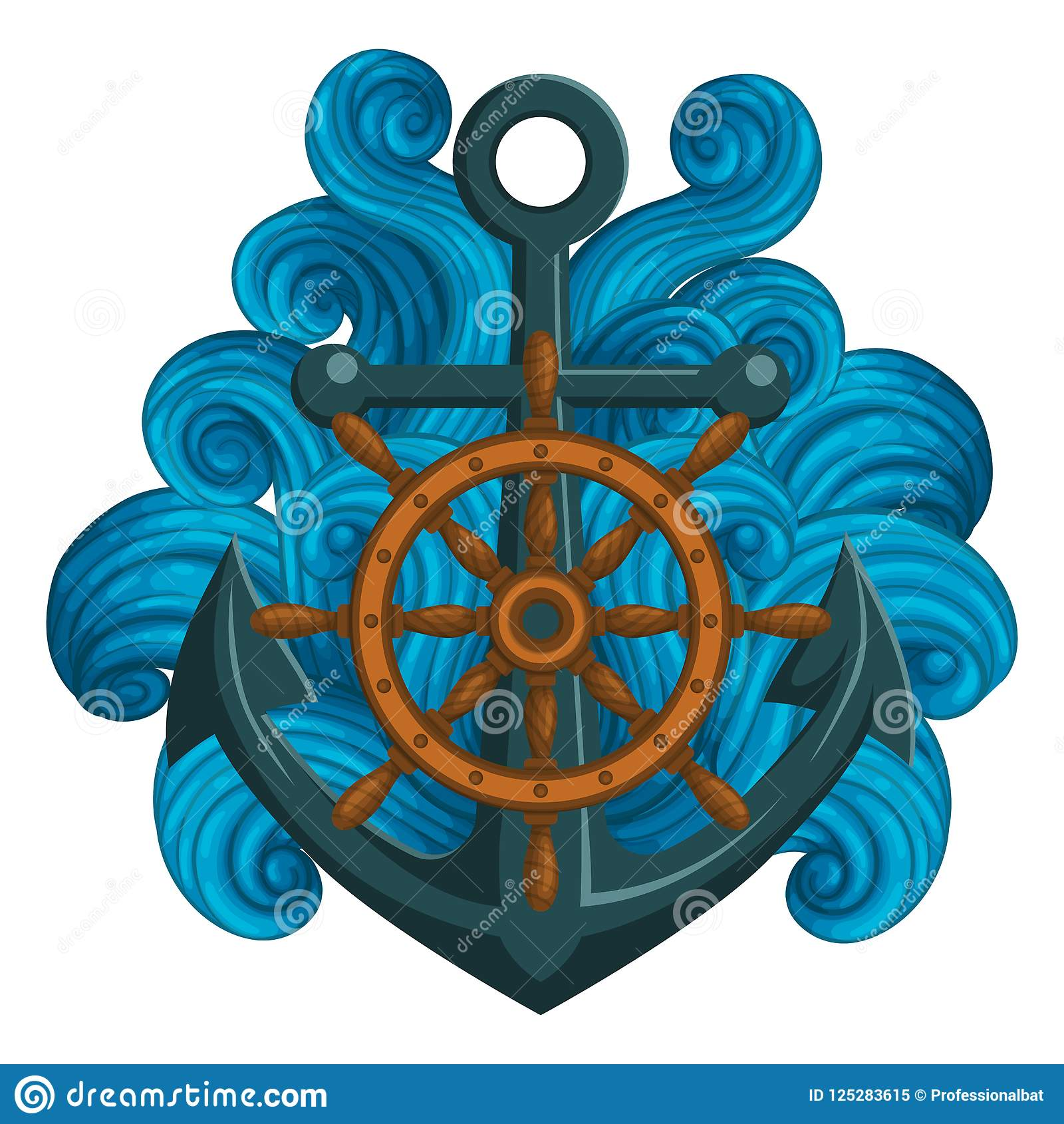 71d897ea0 Wooden Ship`s Wheel And Anchor With Blue Waves. Stock Vector ...