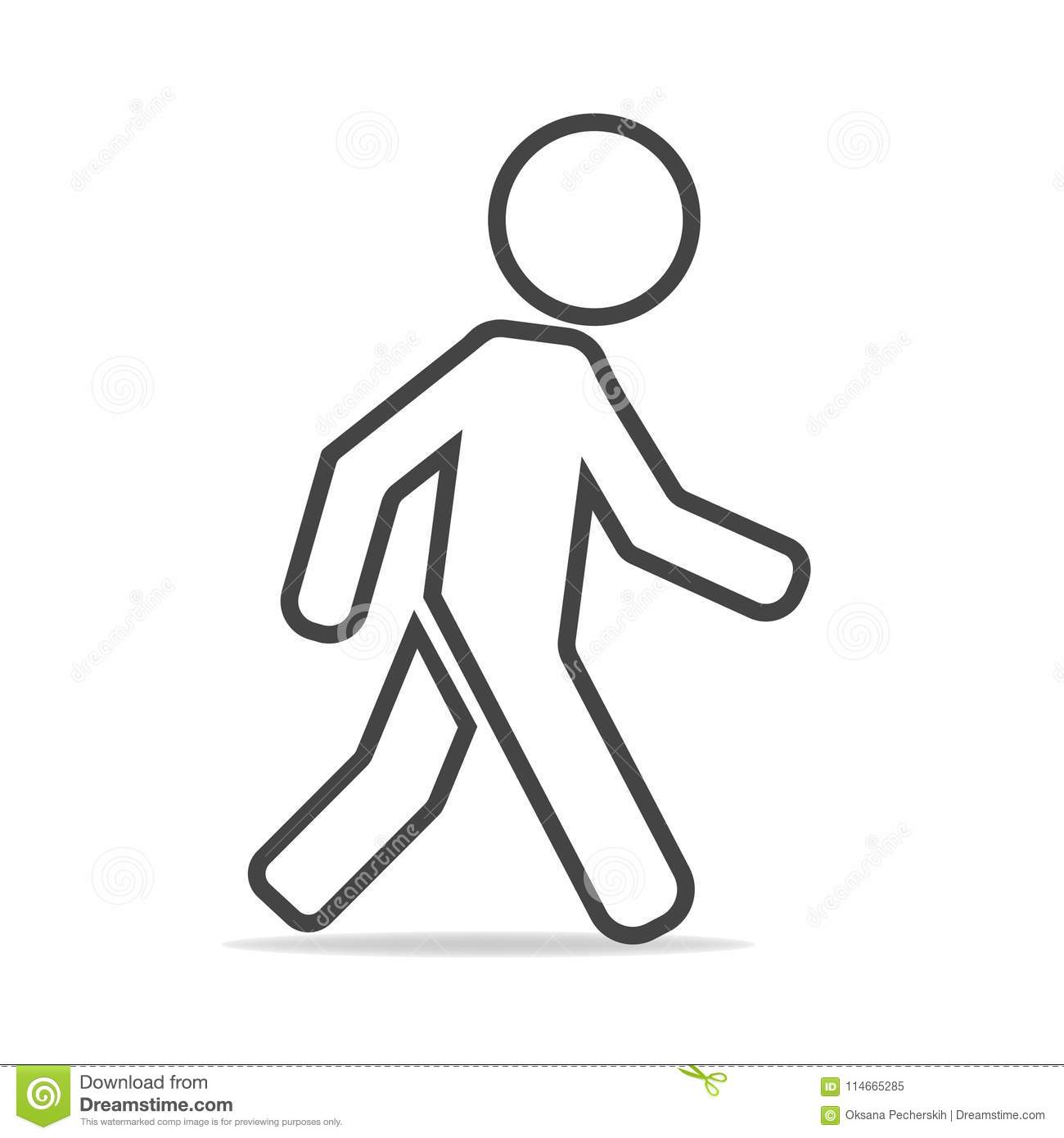 Vector icon of a walking pedestrian. Illustration of a walking m