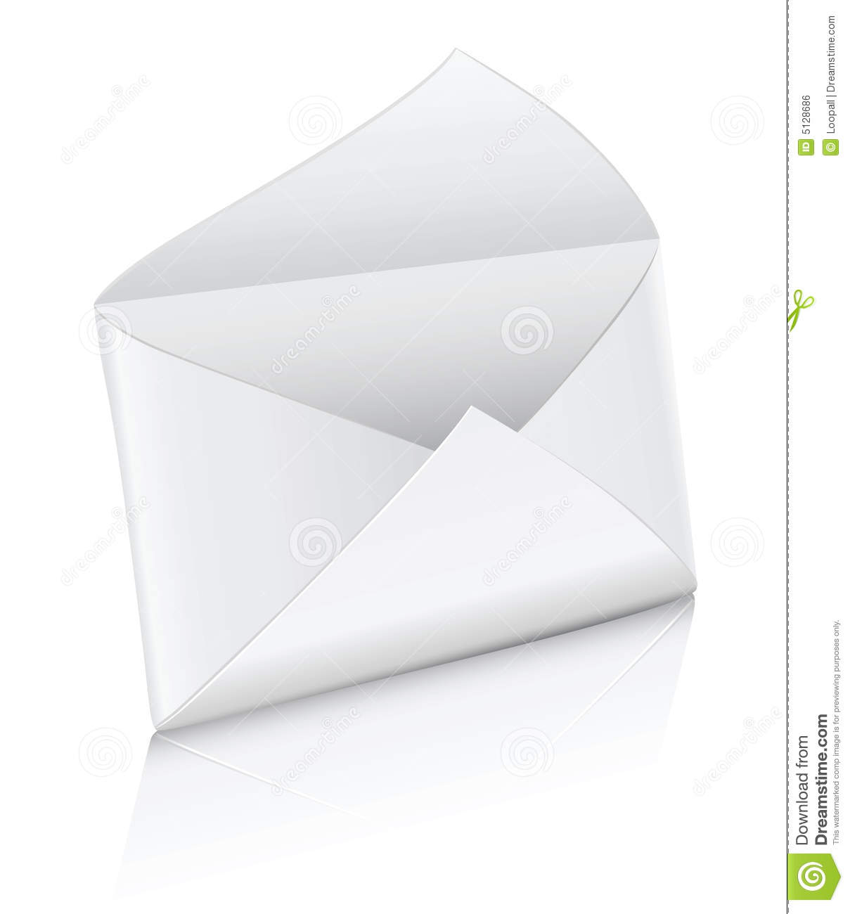 Vector icon white empty mail envelope opened