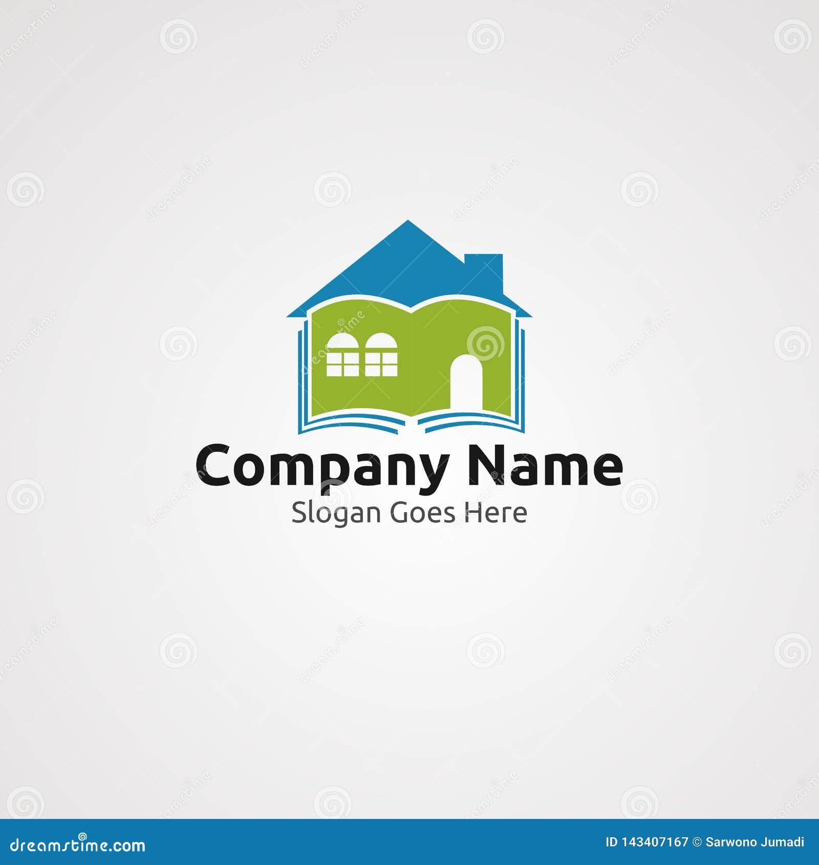Vector, icono, elemento, y plantilla del logotipo de la biblioteca casera para la compañía