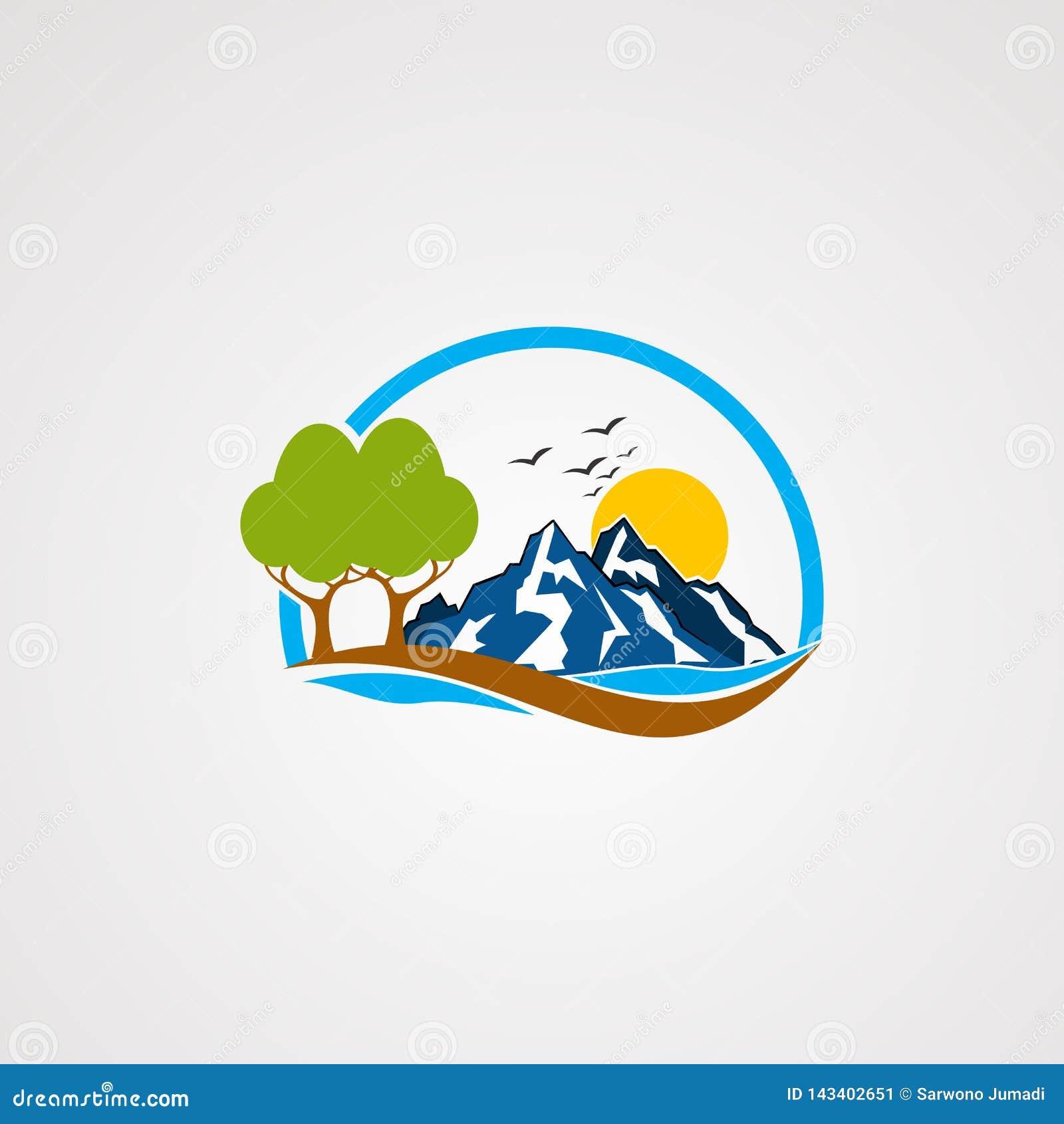 Vector, icono, elemento, y plantilla del logotipo de la montaña de la roca para la compañía