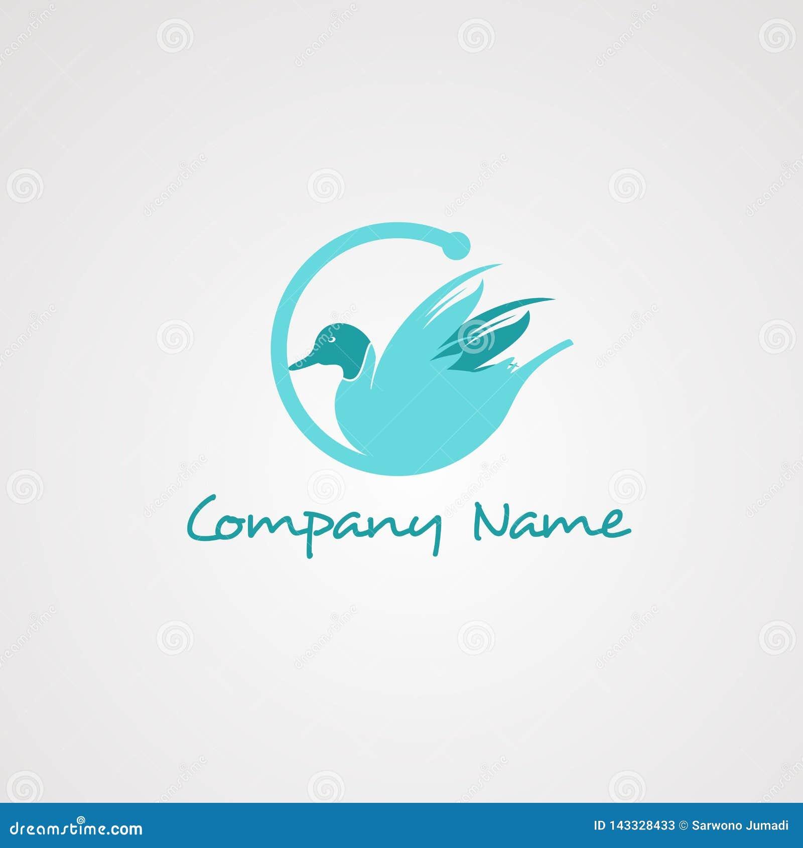 Vector, icono, elemento, y plantilla del logotipo del ganso para la compañía