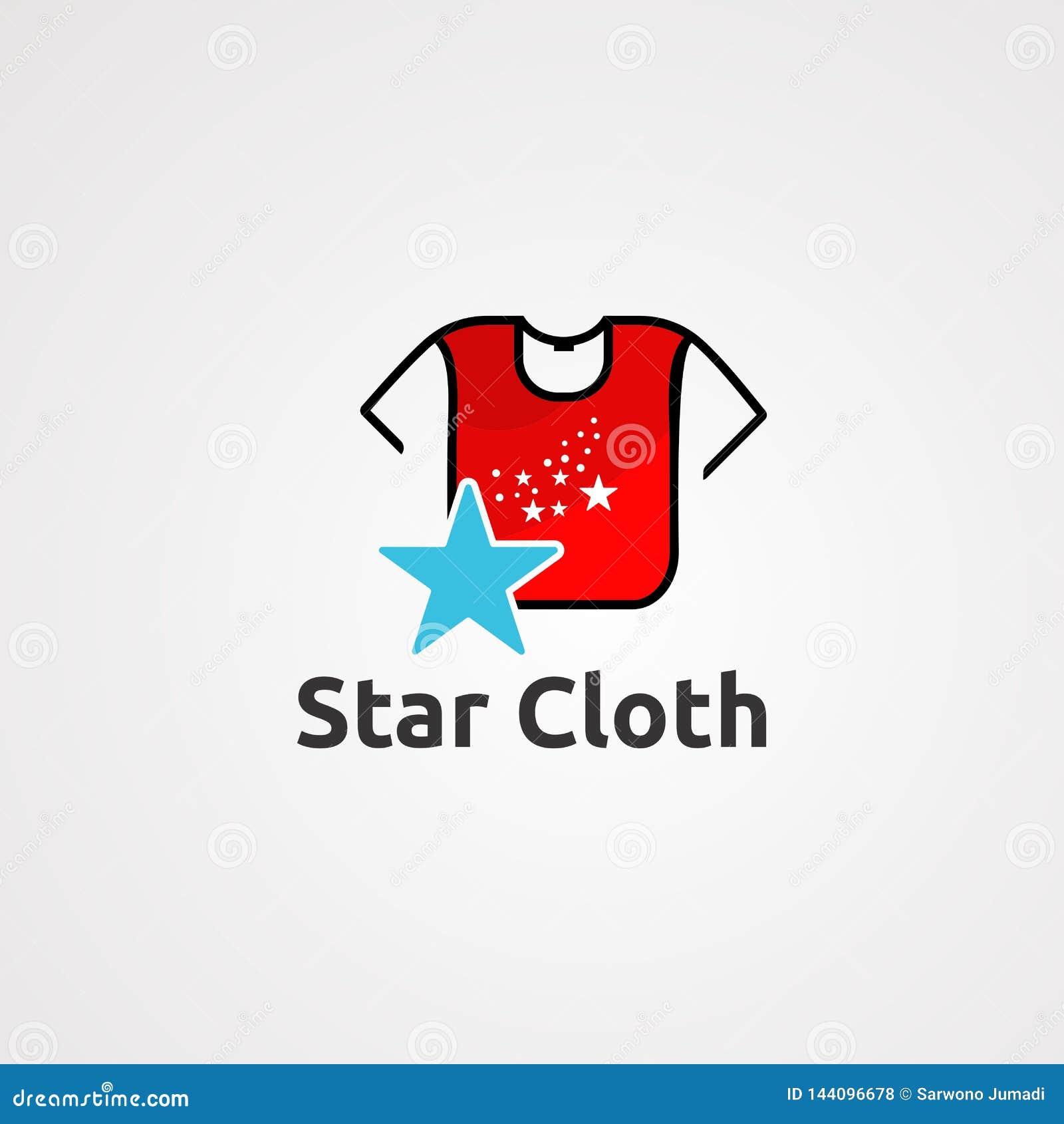 Vector, icono, elemento, y plantilla del logotipo del paño de la estrella para la compañía