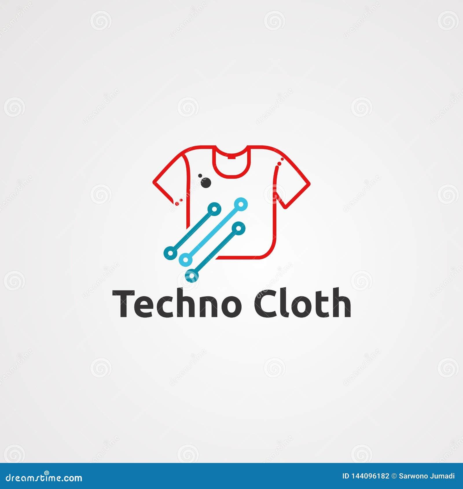 Vector, icono, elemento, y plantilla del logotipo del paño de Techno para la compañía