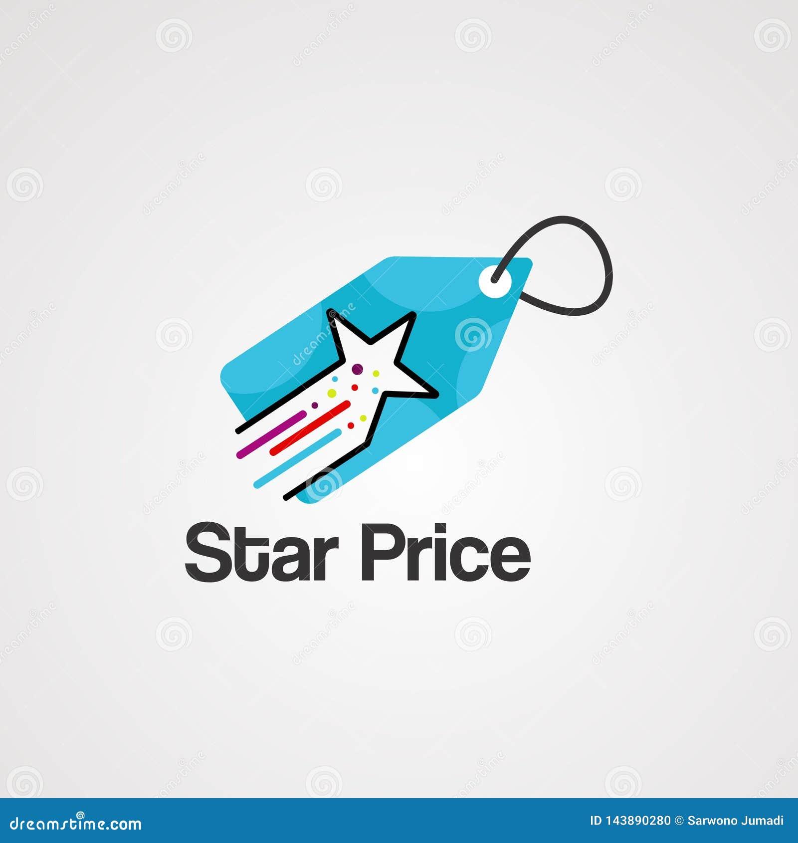 Vector, icono, elemento, y plantilla del logotipo del precio de la estrella