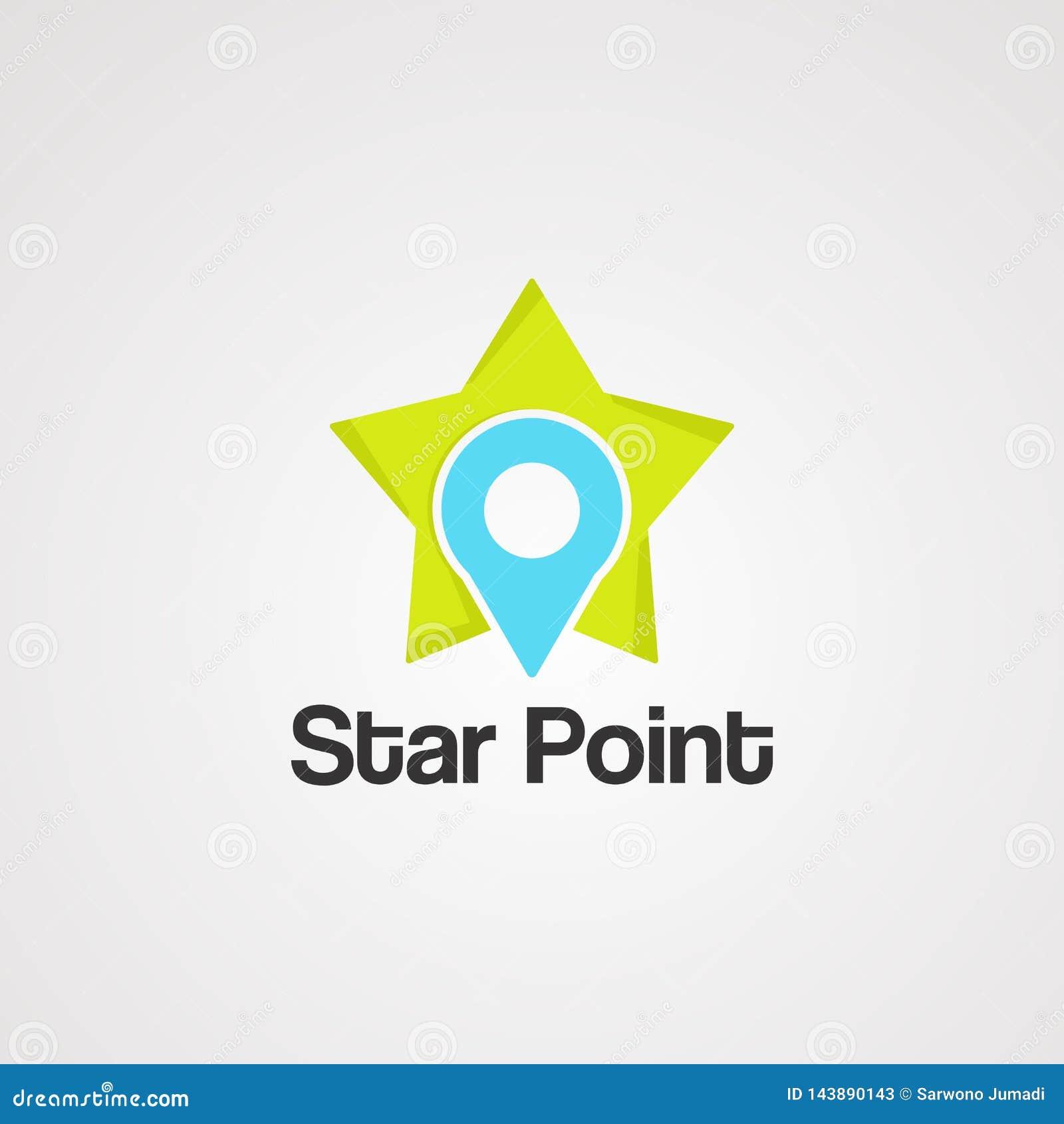 Vector, icono, elemento, y plantilla del logotipo del punto de la estrella