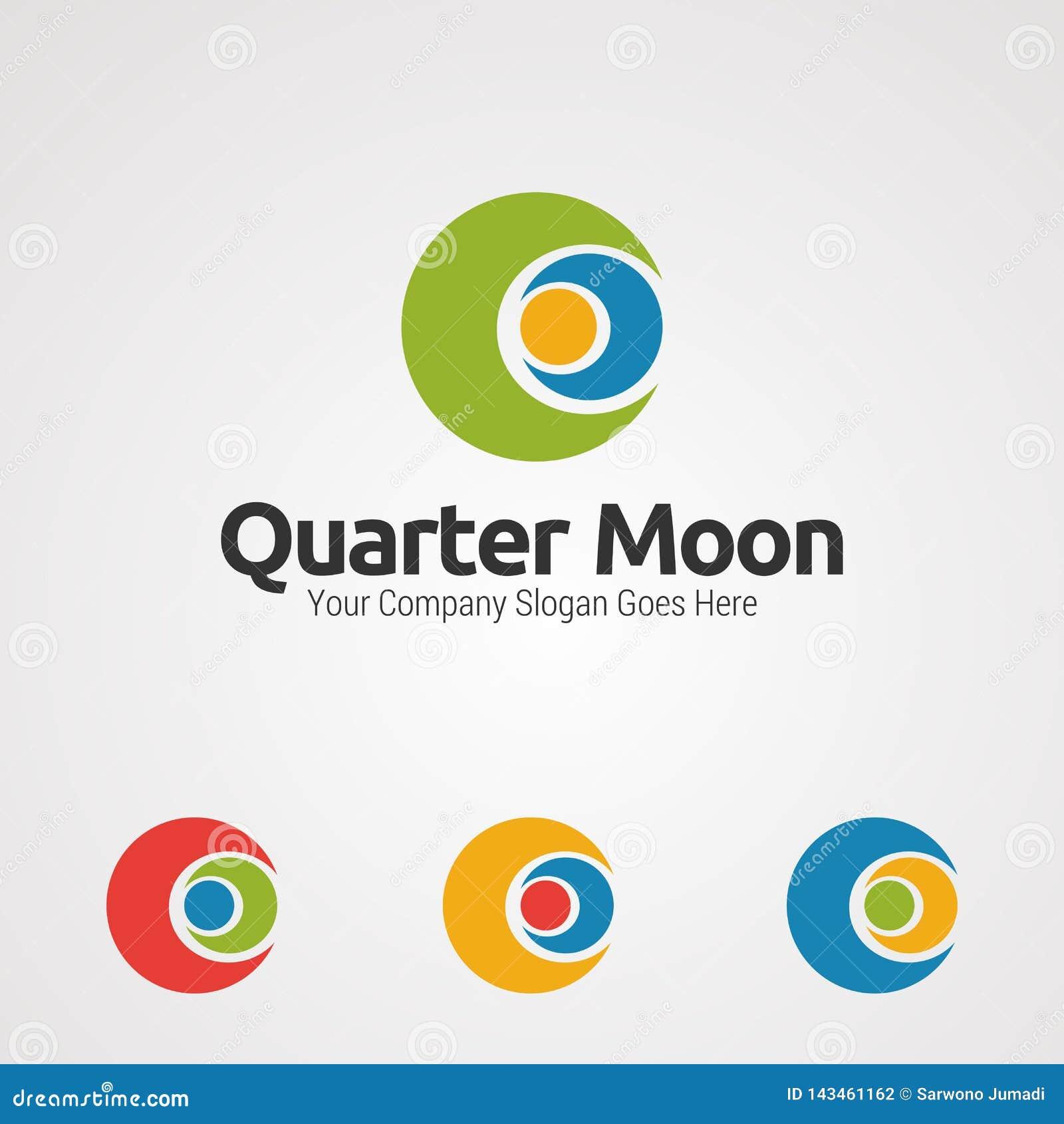 Vector, icono, elemento, y plantilla humanos del logotipo del abrazo de la luna cuarta para la compañía